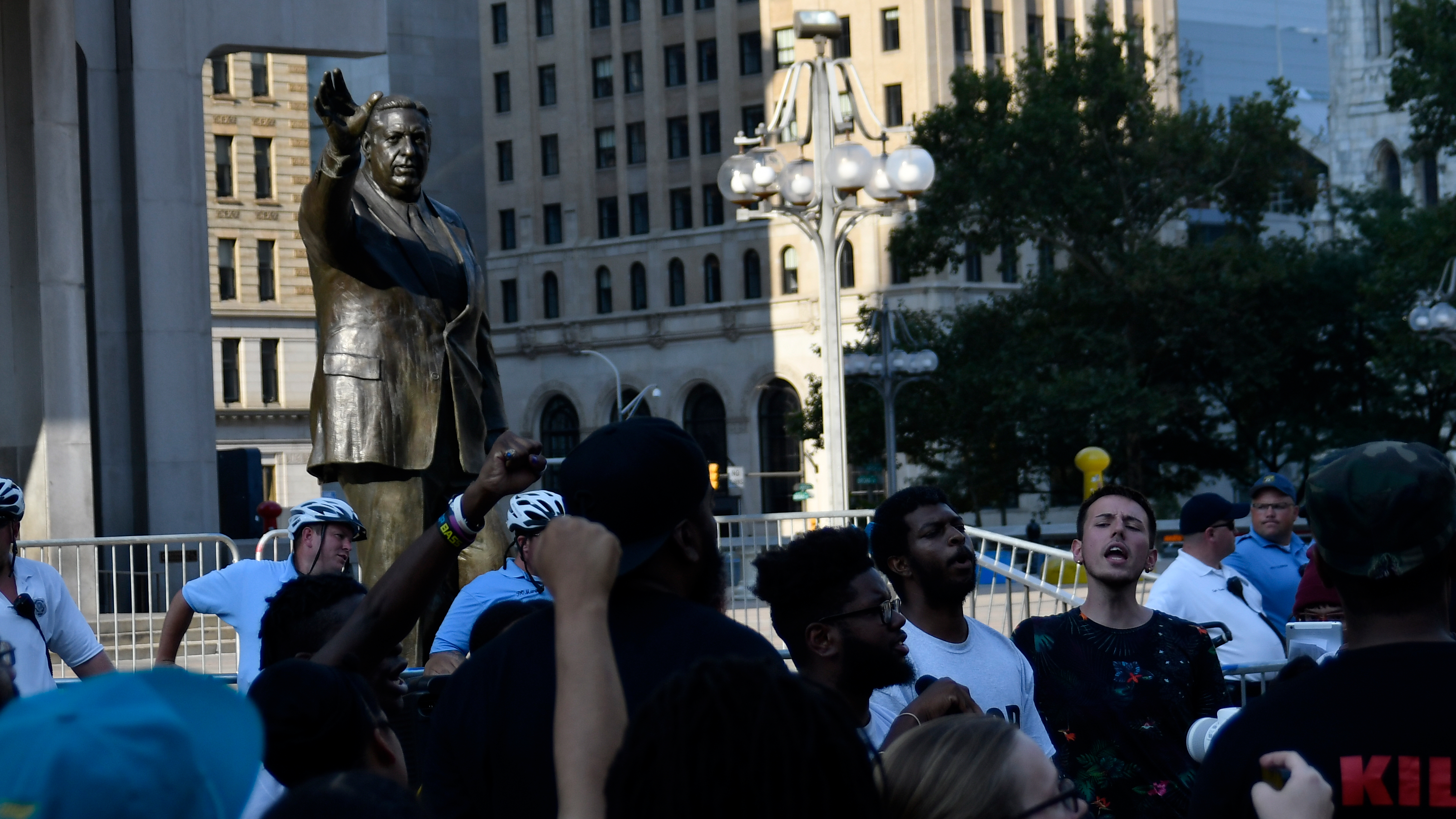 Protestors demand the removal of the Frank Rizzo statue, at a rally near City Hall, in Philadelphia, PA, on August 21, 2017.