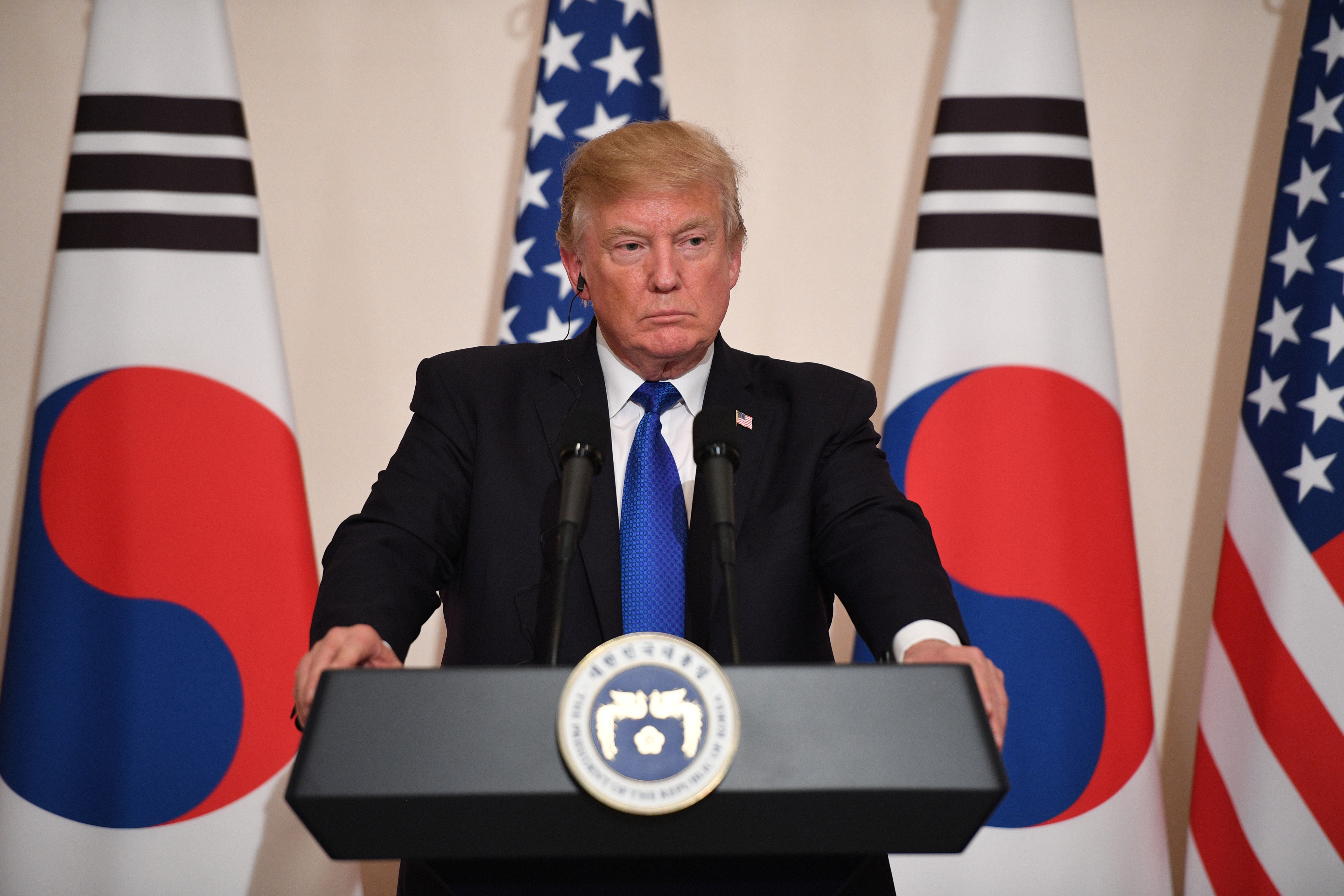 President Donald Trump attends a joint press conference with South Korea's President Moon Jae-In at the presidential Blue House in Seoul on Nov. 7, 2017.