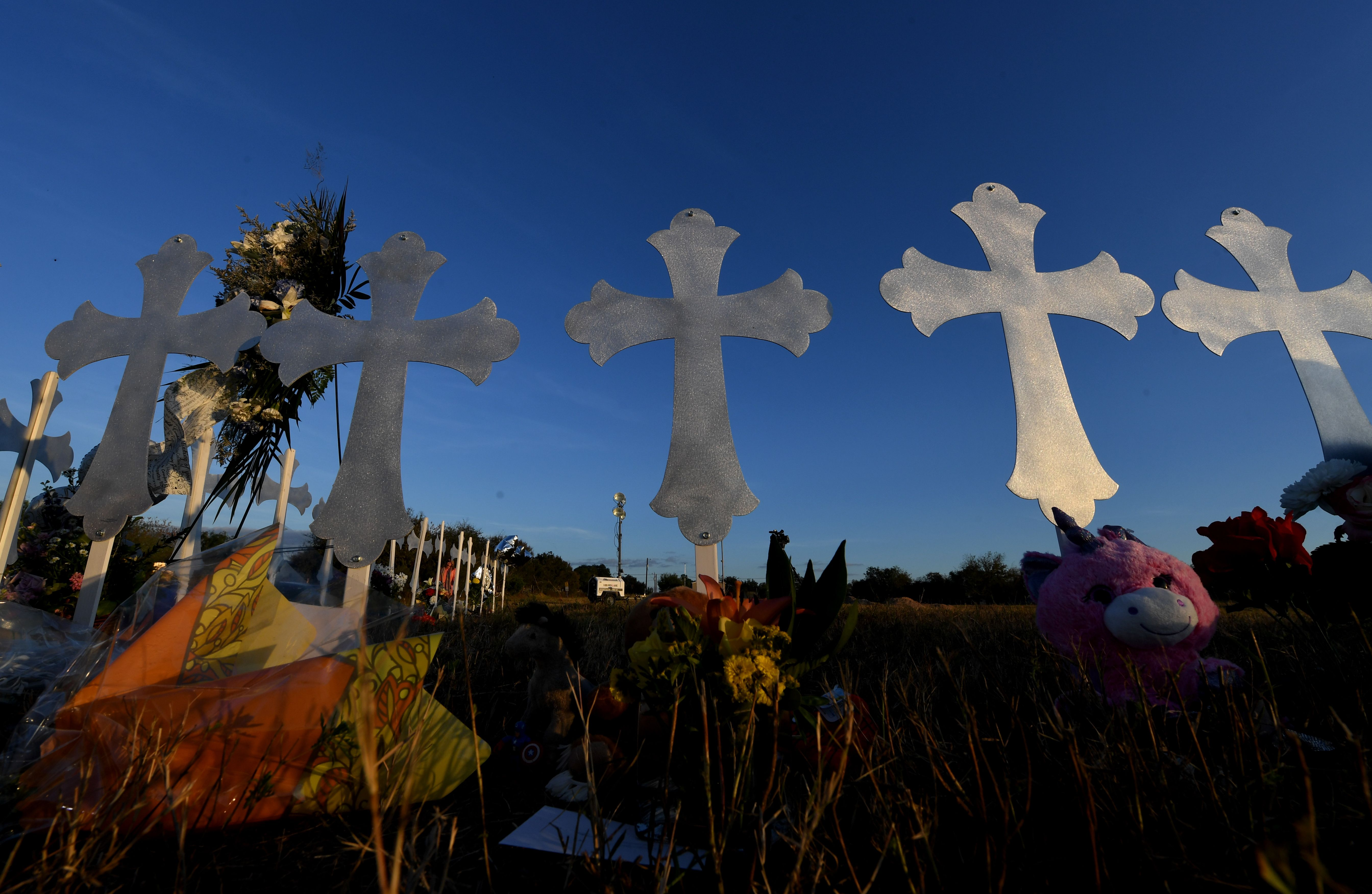 A memorial of crosses are seen after a mass shooting that killed 26 people in Sutherland Springs, Texas on Nov. 7, 2017.