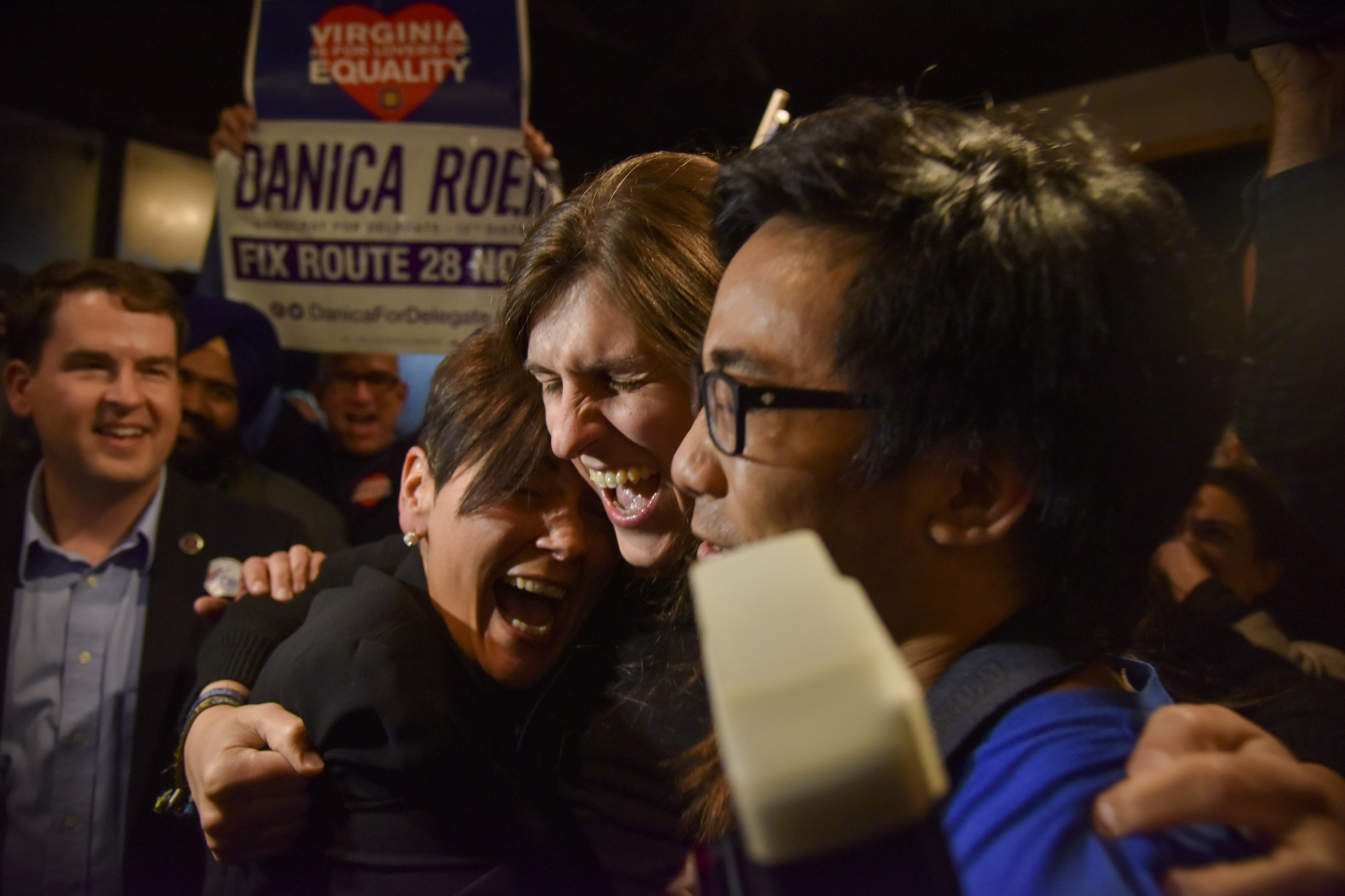 Danica Roem is greeted by supporters as she prepares to give her victory speech at Water's End Brewery on  Nov. 7, 2017, in Manassas, VA.