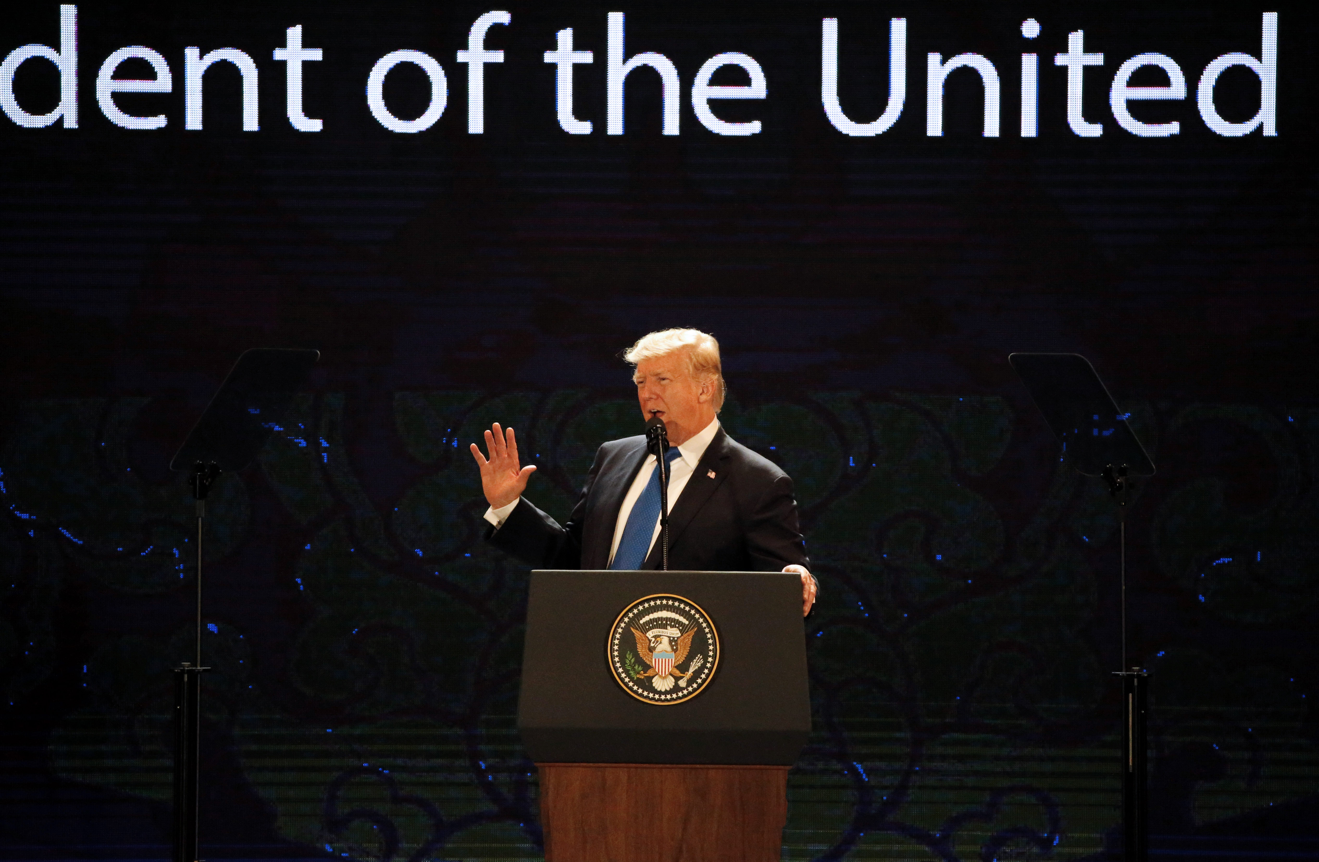 US President Donald Trump speaks on the final day of the APEC CEO Summit in the central Vietnamese city of Danang on November 10, 2017.