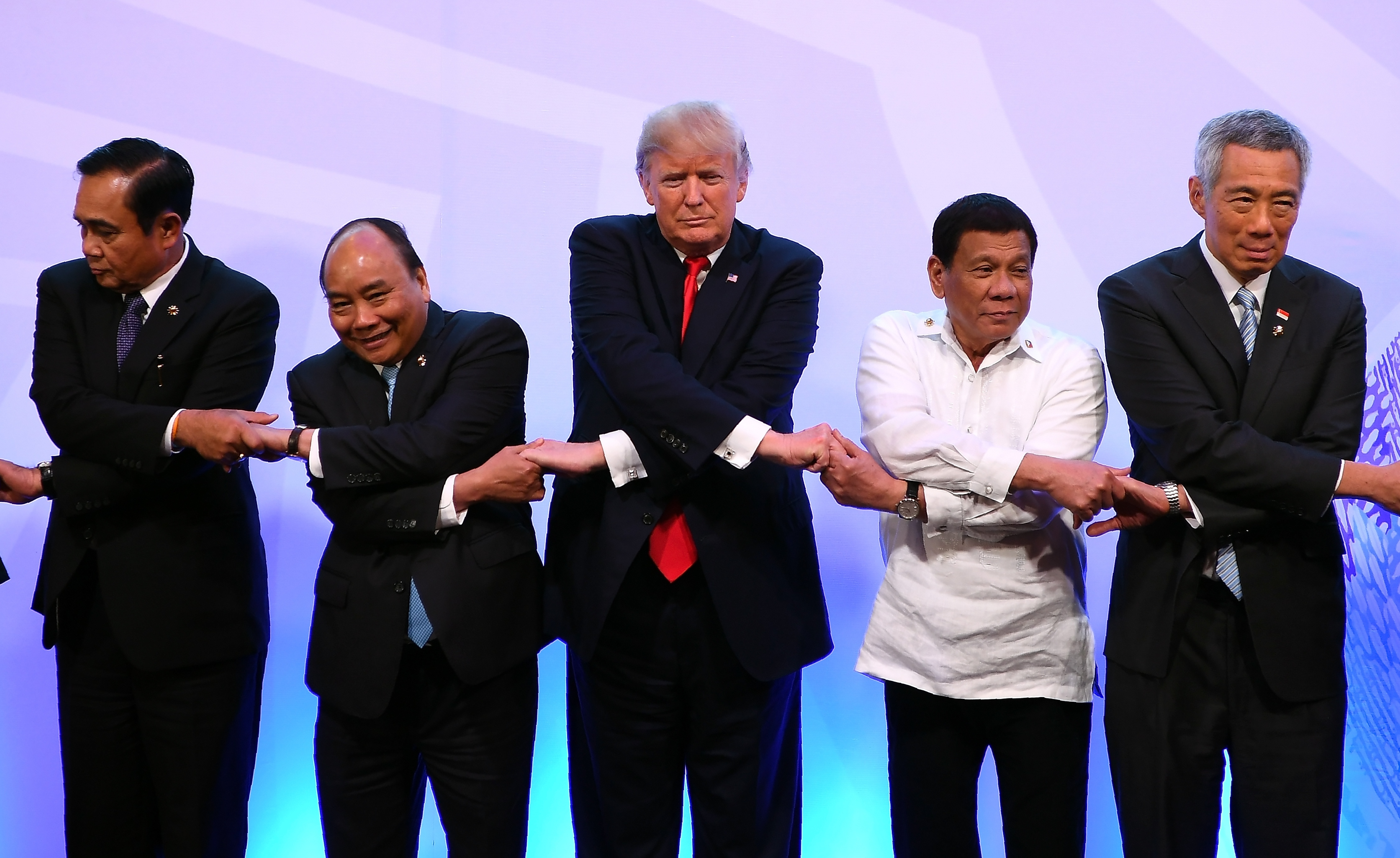 World leaders pose for a photo during the ASEAN-US 40th Anniversary commemorative Summit in Manila on November 13, 2017.