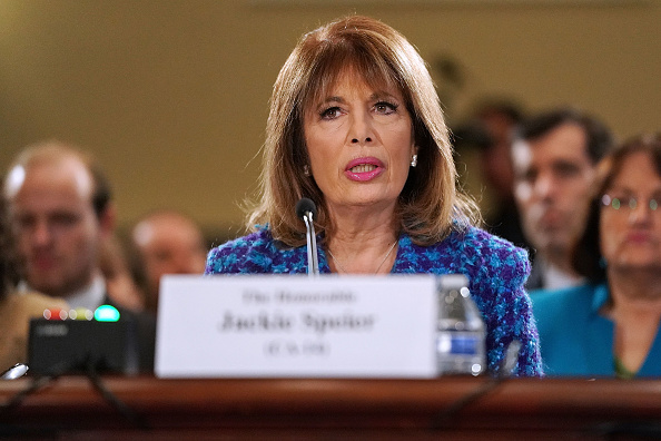 Rep. Jackie Speier (D-CA) testifies before the House Administration Committee in the Longworth House Office Building on Capitol Hill November 14, 2017 in Washington, DC.