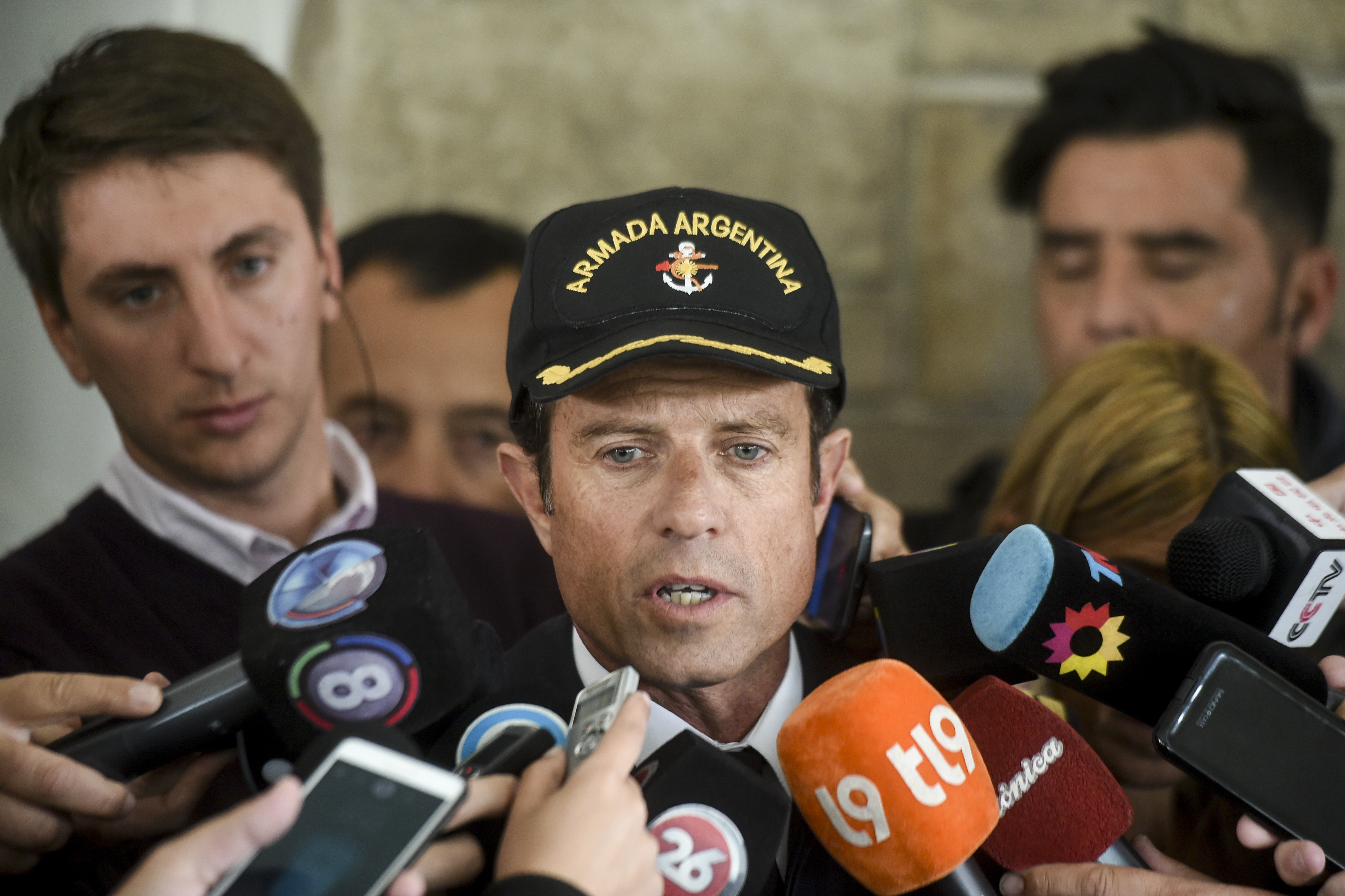 Warship captain Gabriel Galeazzi speaks during a press conference at Argentina's Navy base in Mar del Plata, on the Atlantic coast south of Buenos Aires, on November 20, 2017.