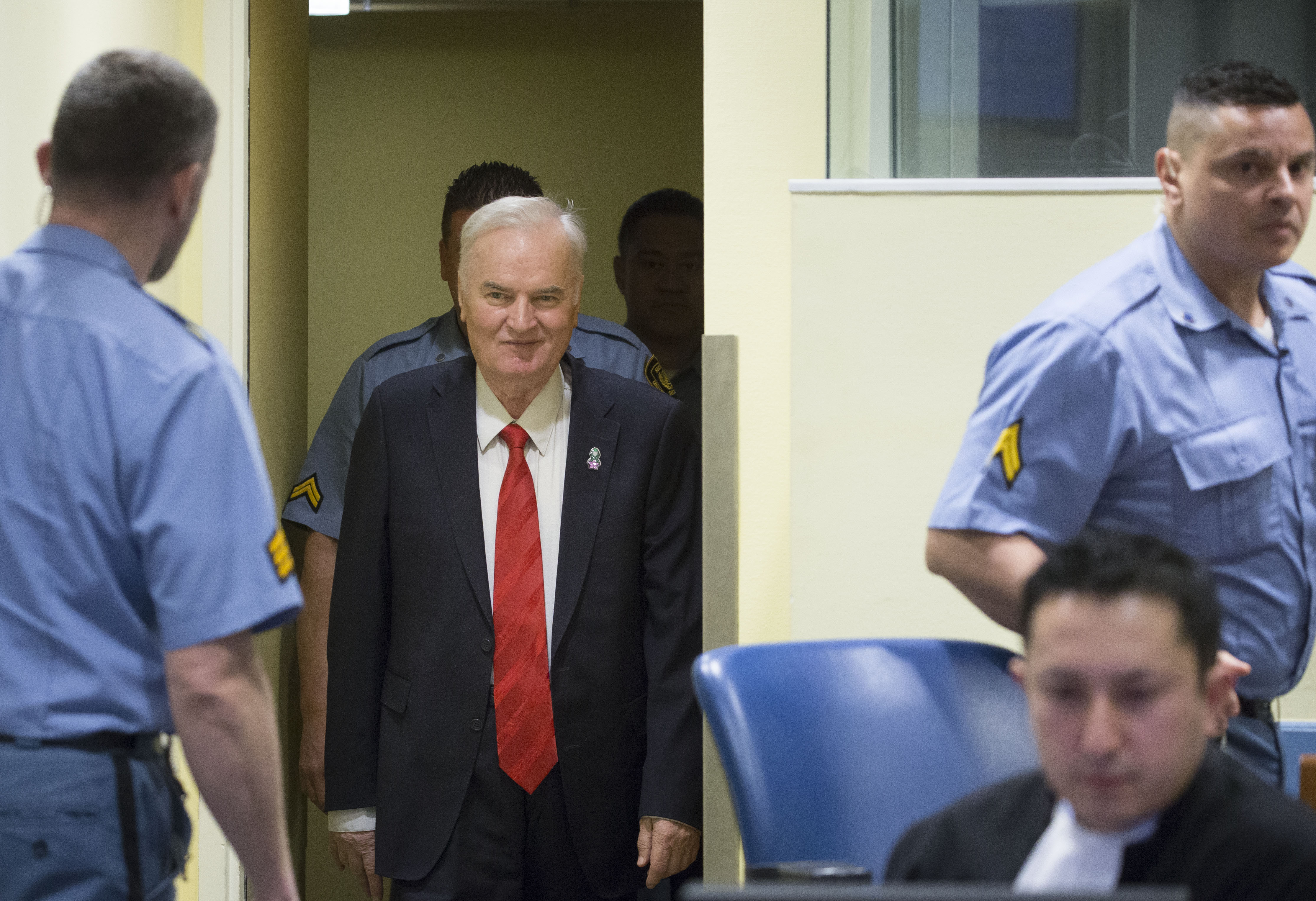 Former Bosnian military chief Ratko Mladic appears for the pronouncement of the Trial Judgement for the International Criminal Tribunal for the former Yugoslavia (ICTY). Mladic is dubbed the  Butcher of Bosnia.