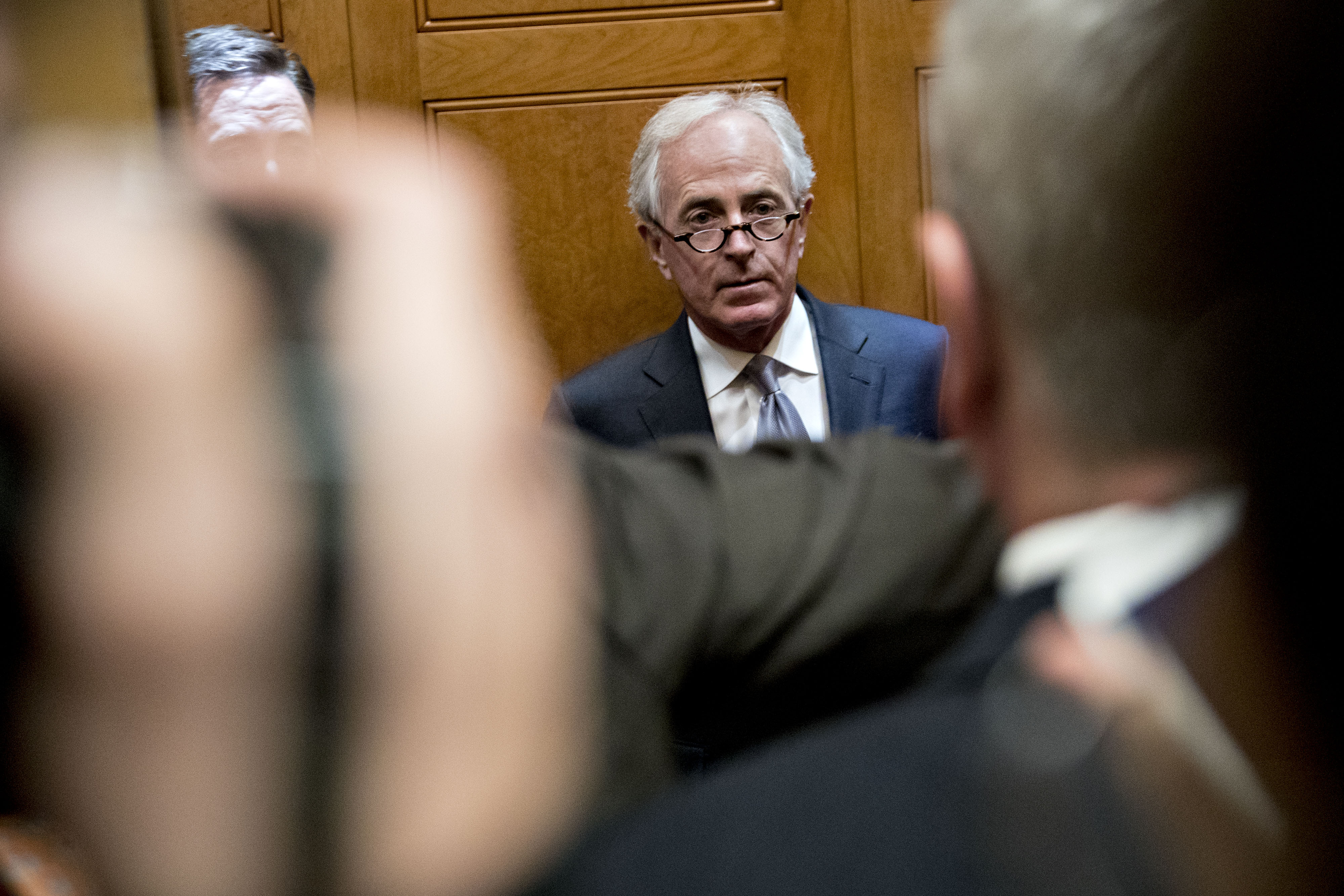 Senator Bob Corker, a Republican from Tennessee, stands on an elevator in the basement of the U.S. Capitol in Washington, D.C., U.S., on Thursday, Nov. 30, 2017.