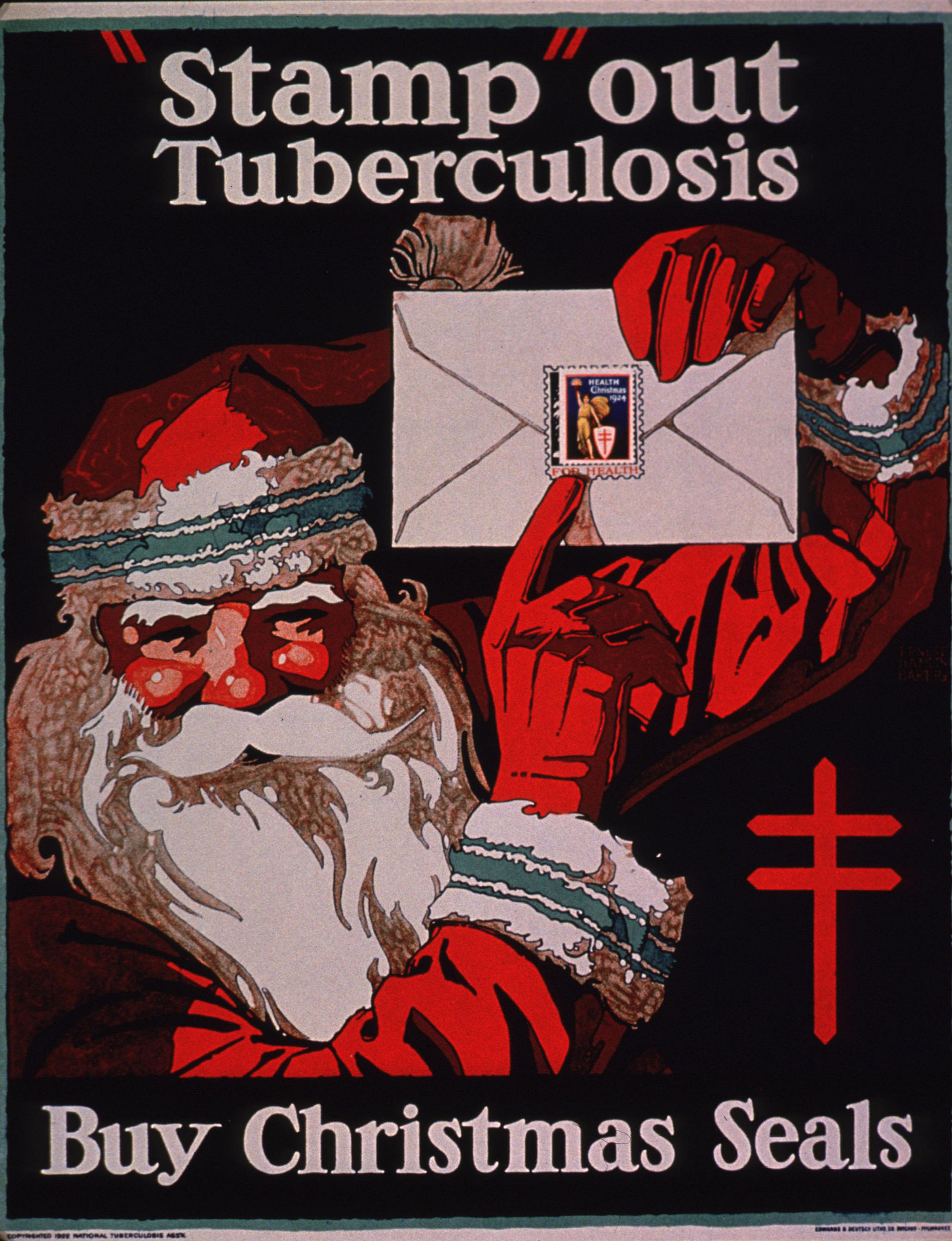 A 1924 National Tuberculosis Association poster of Santa Claus encouraging people to buy Christmas seals.