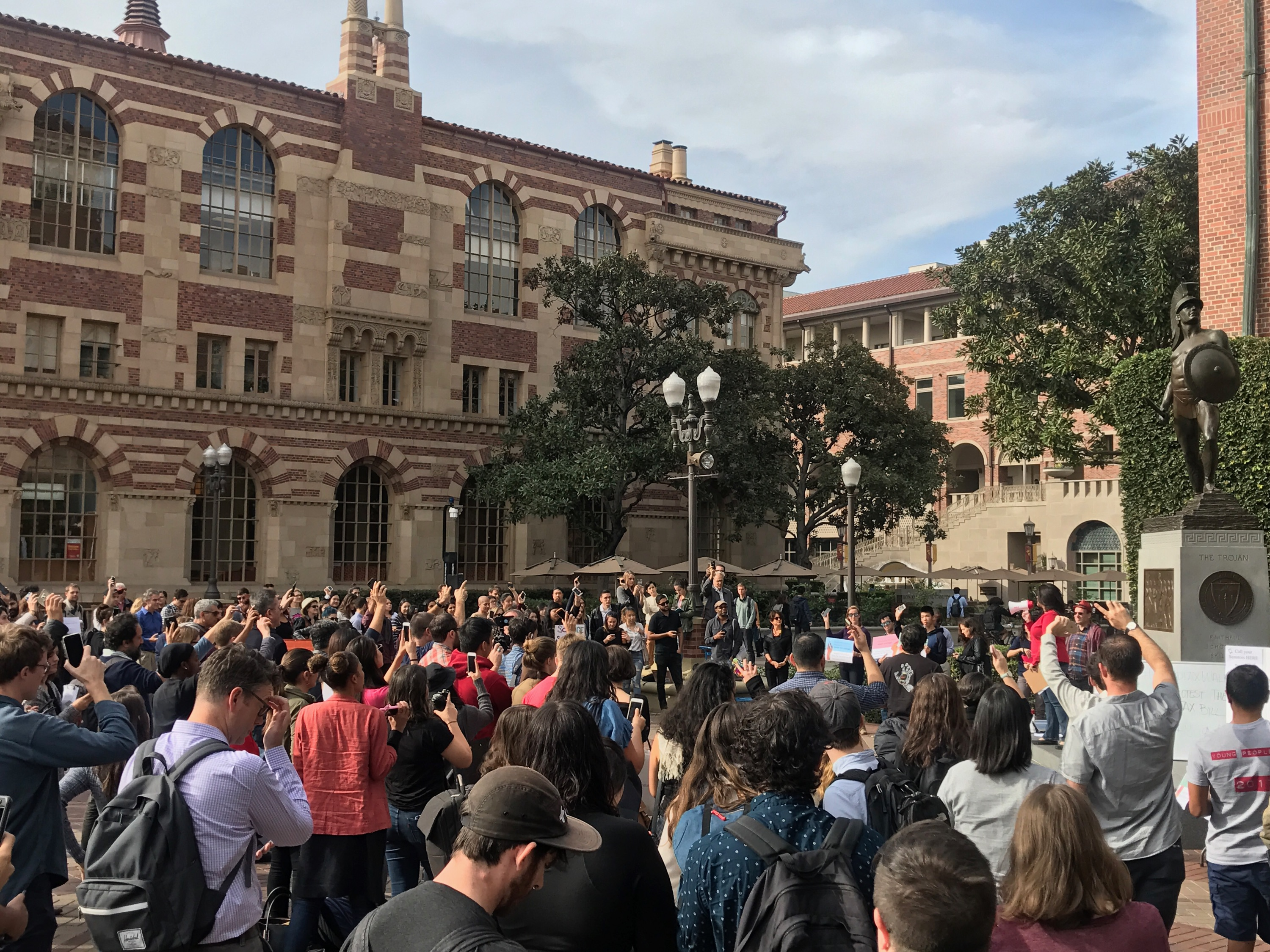 Students participate in a walk-out at the University of Southern California on Nov. 29, 2017.