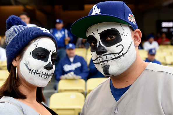 Dodgers fans dressed up in Halloween costumes for Game 6 of the 2017 World Series on Tuesday, October 31, 2017 in Los Angeles, California.
