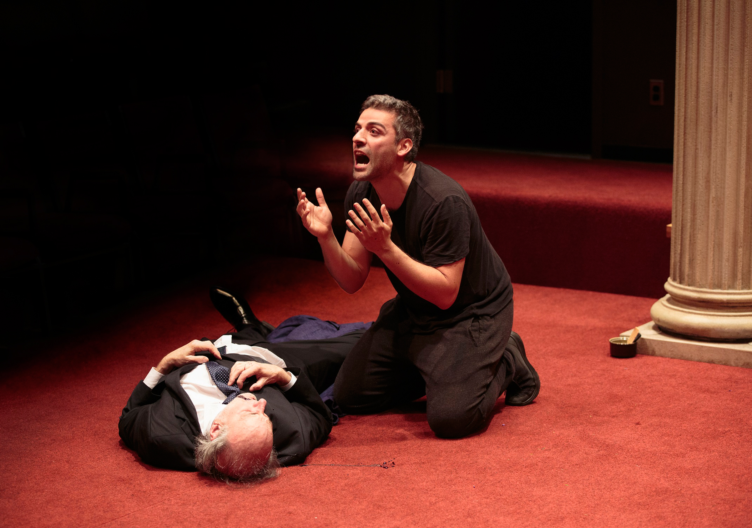 Peter Friedman and Oscar Isaac in Hamlet, directed by Sam Gold, running at The Public Theater through September 3.