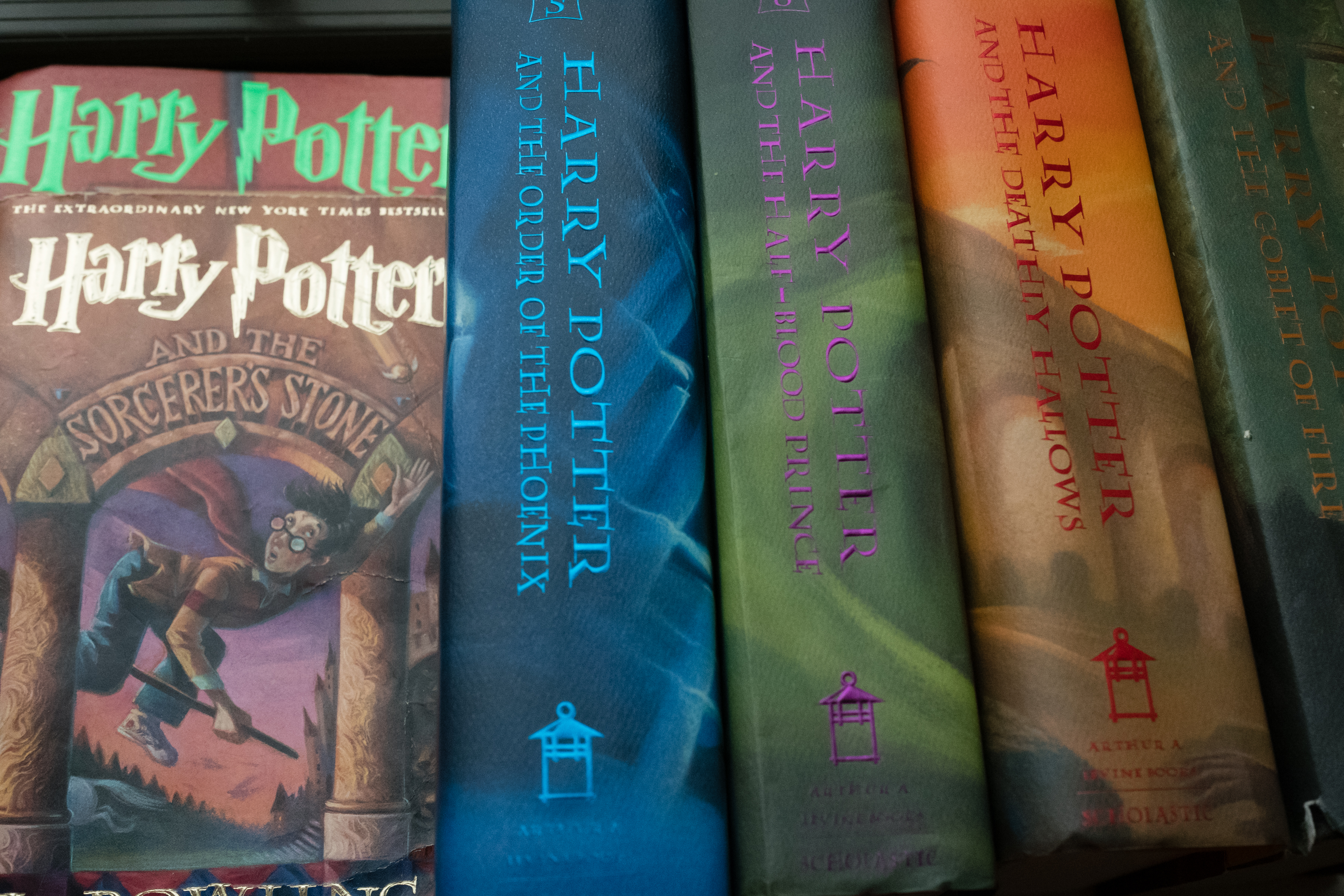 A collection of Harry Potter books are pictured at the home of Caitlin Moore in Washington, D.C.