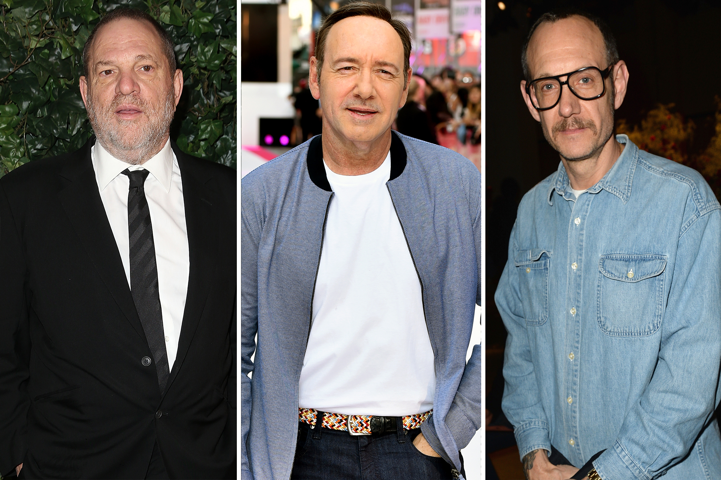 From left: Harvey Weinstein, Kevin Spacey and Terry Richardson