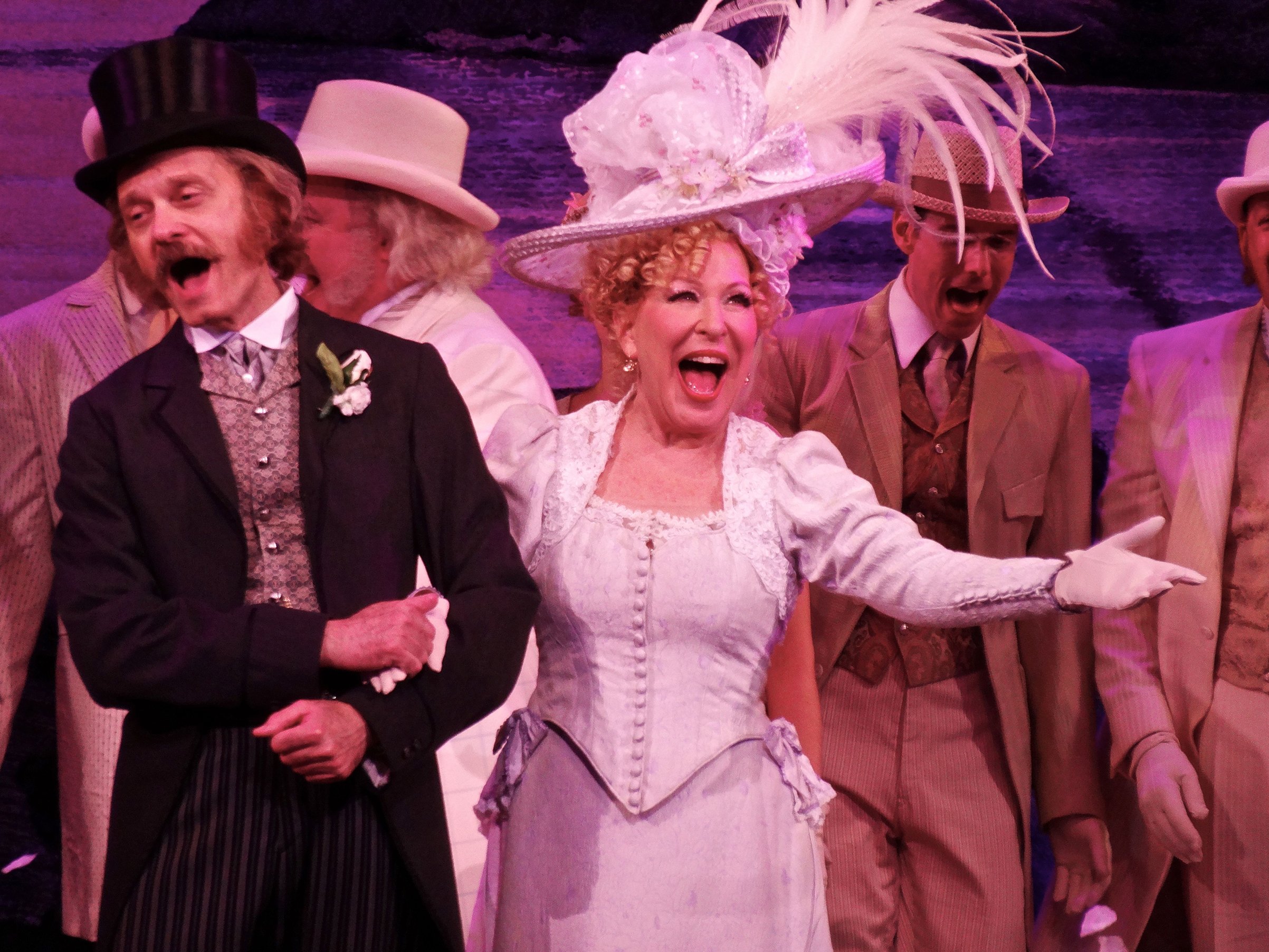 David Hyde Pierce and Bette Midler in 'Hello Dolly' on Broadway during a curtain call, New York