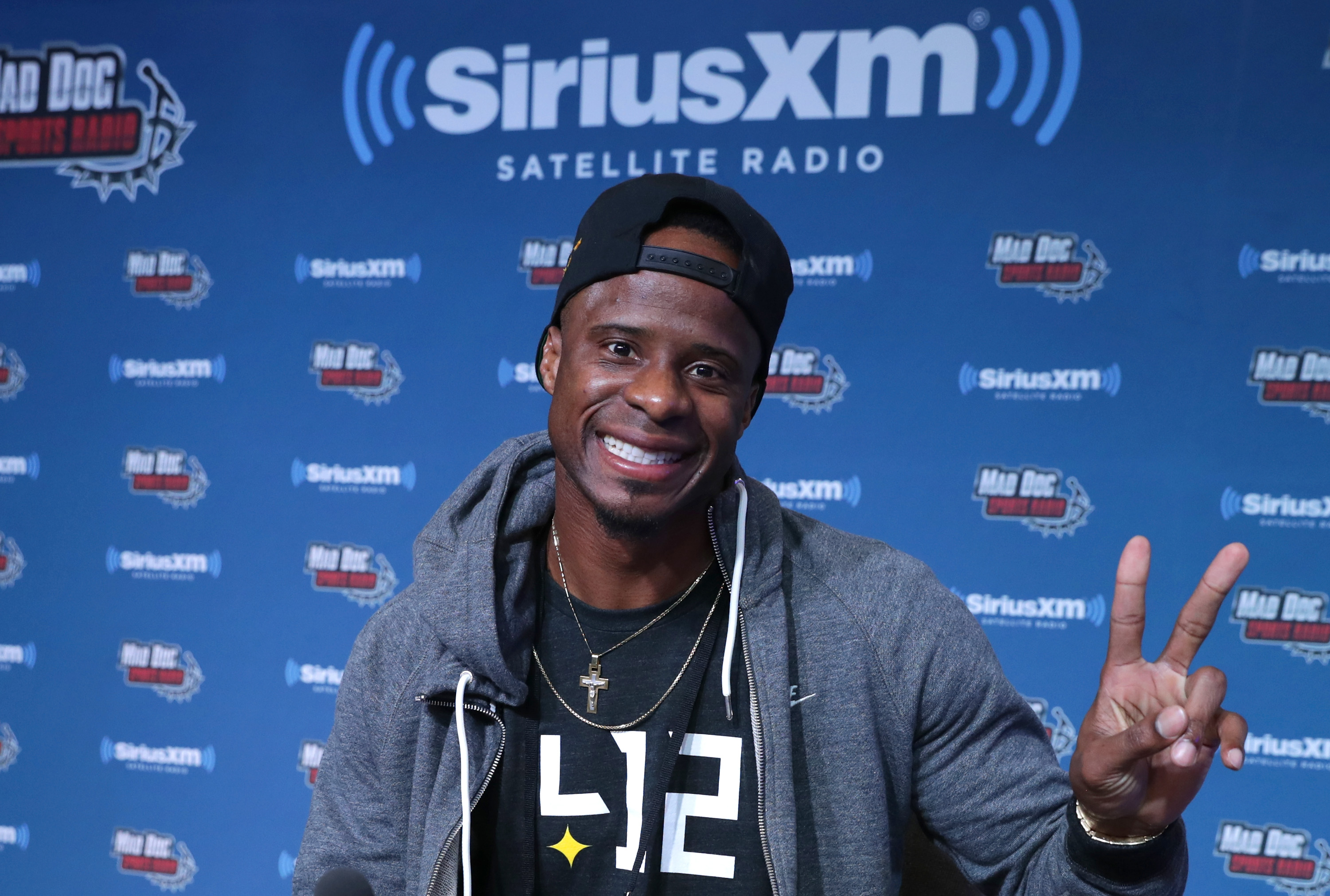 Former NFL player Ike Taylor visits the SiriusXM set at Super Bowl LI Radio Row at the George R. Brown Convention Center on February 3, 2017 in Houston, Texas.