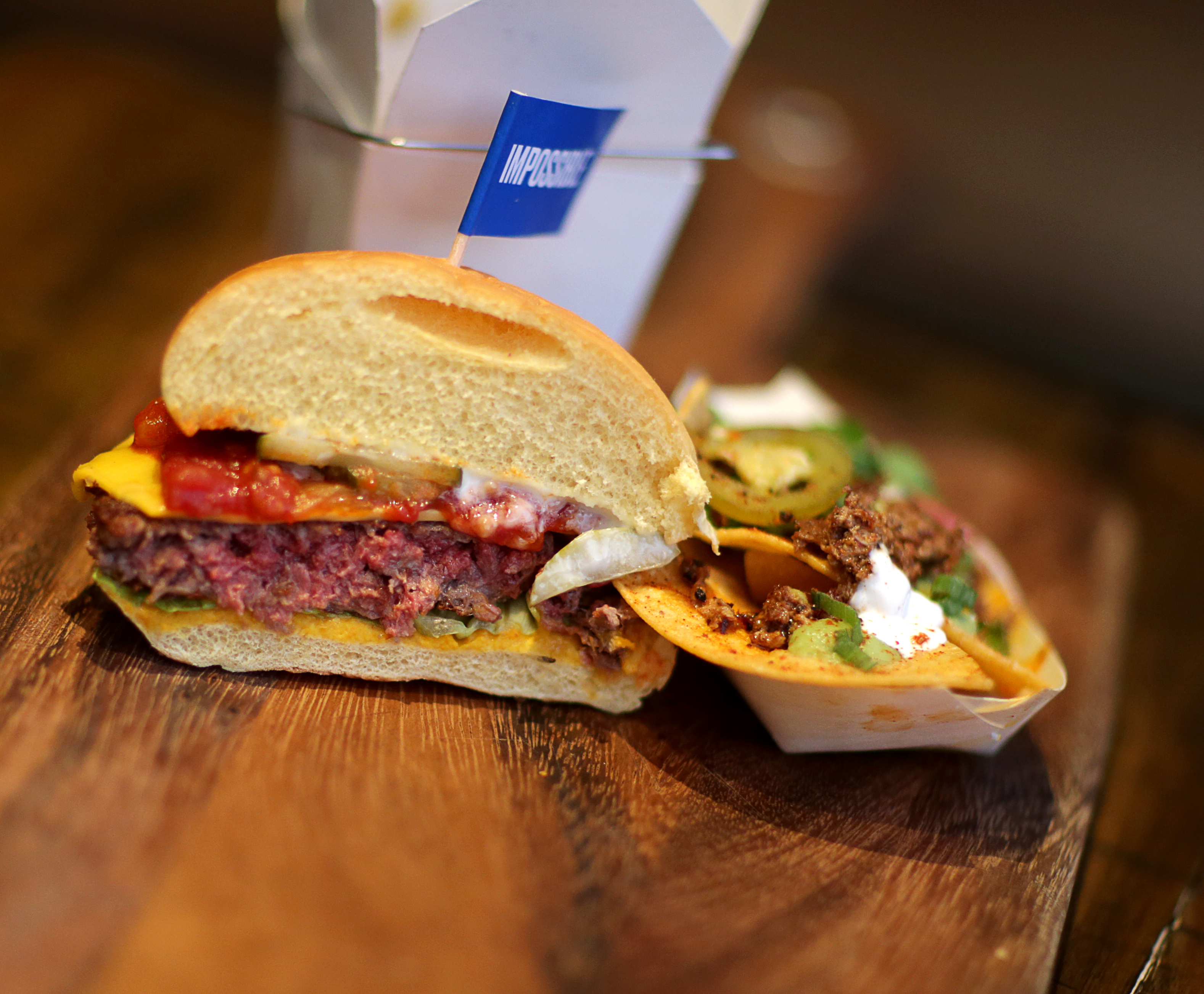 The meatless Impossible Burger at Little Donkey in Cambridge, MA on Oct. 19, 2017.