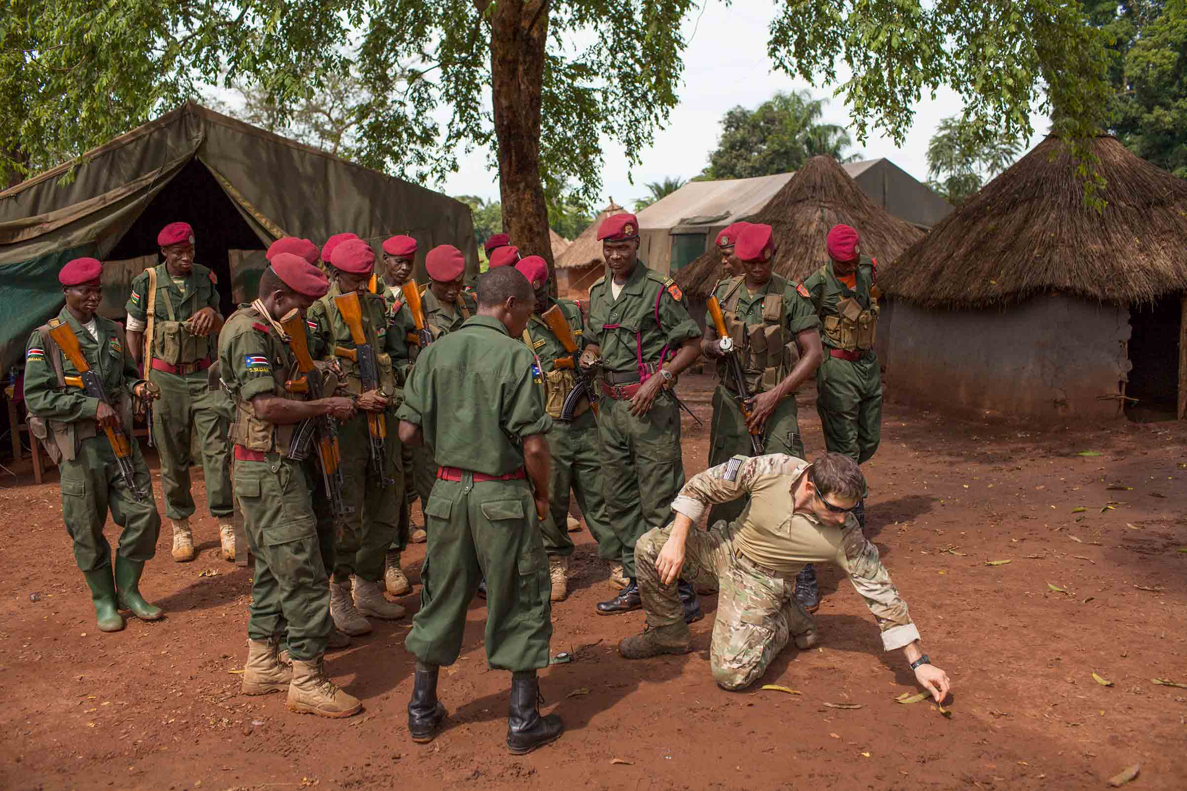 American Green Berets teach navigation techniques to soldiers from the Sudan People's Liberation Army near a U.S. base in Nzara, South Sudan, that coordinates intelligence operations