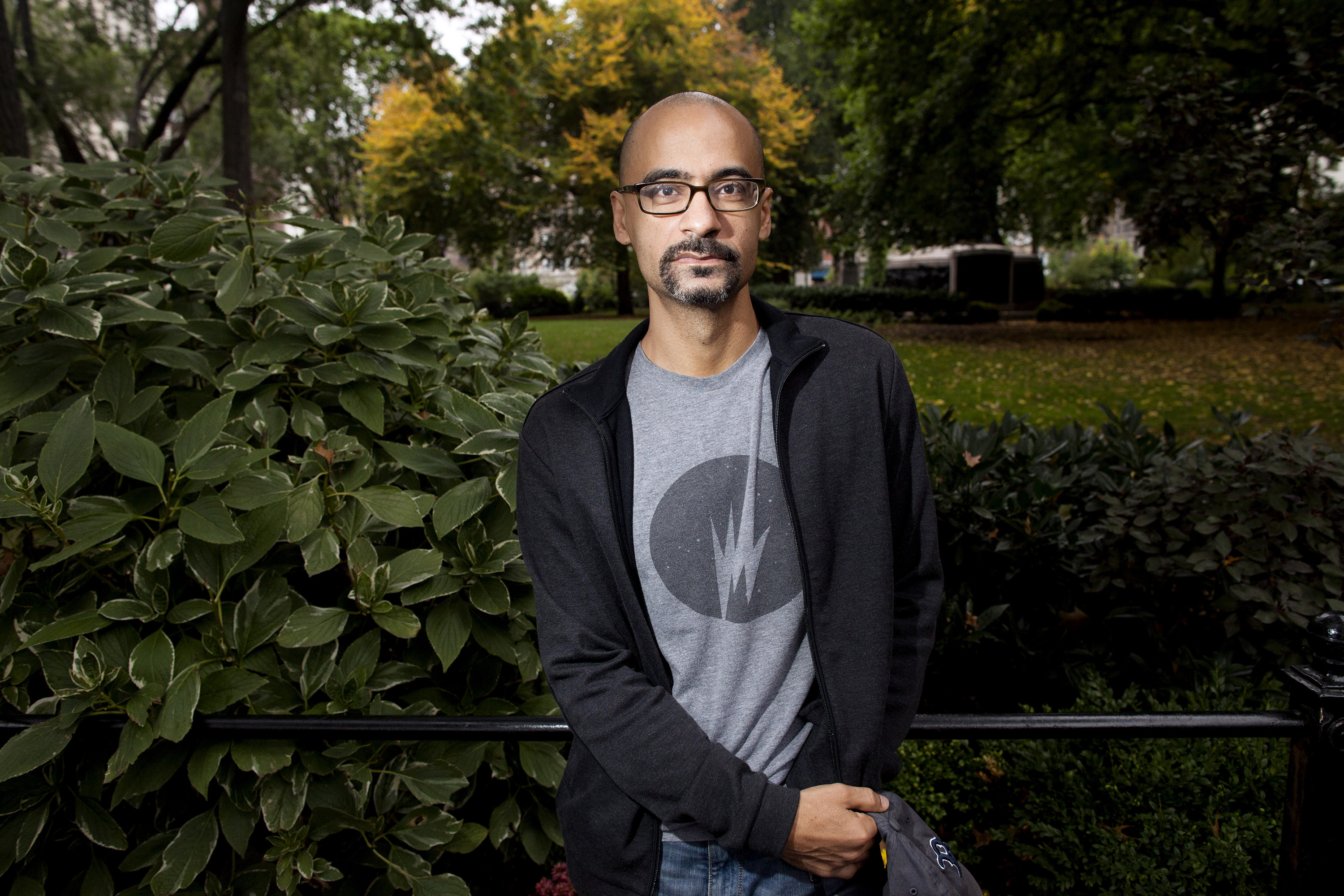 Author Junot Diaz poses in Union Square in New York, N.Y. on Oct. 7, 2013.
