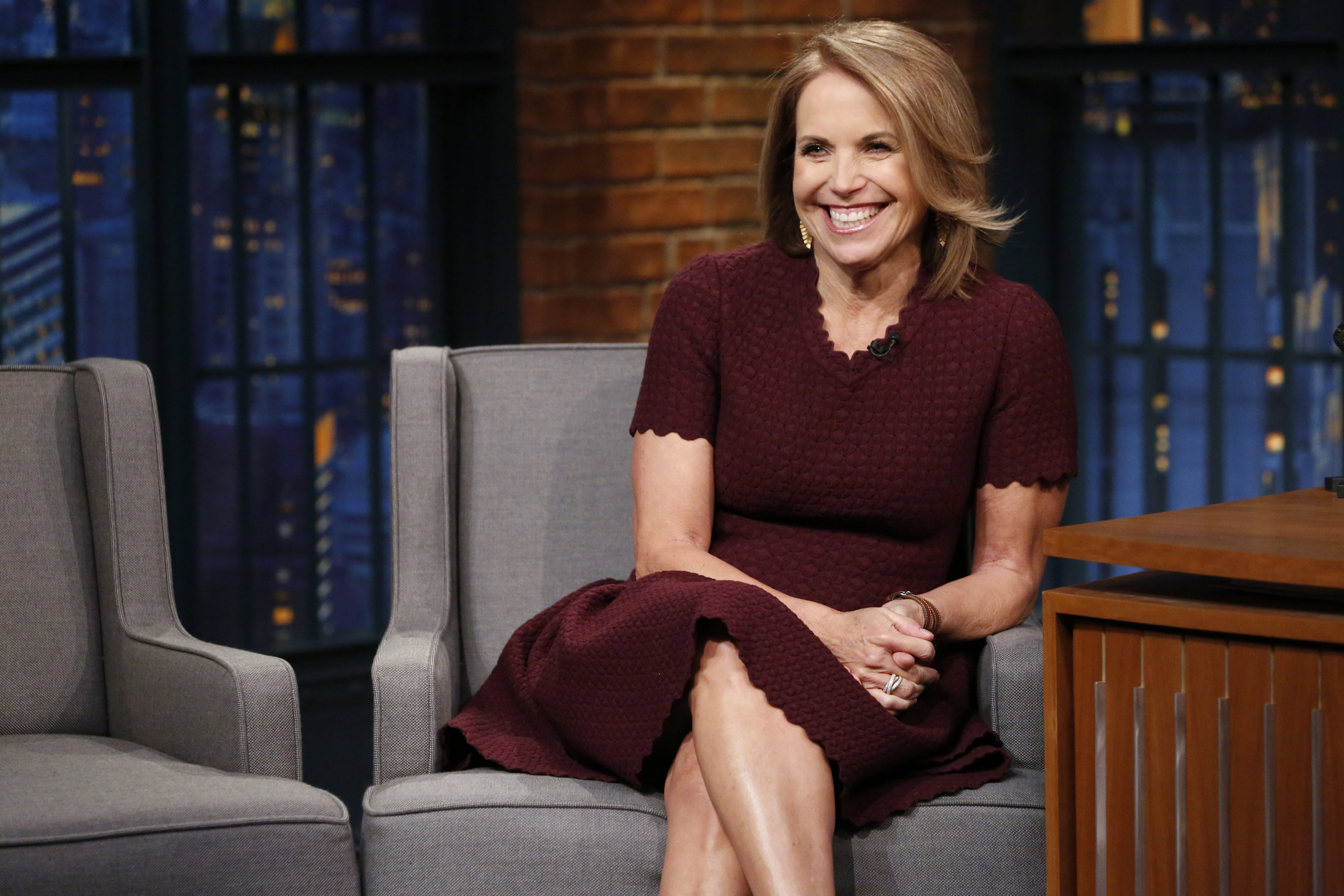 Katie Couric during an interview on  Late Night with Seth Meyers  on Jan. 25, 2017.