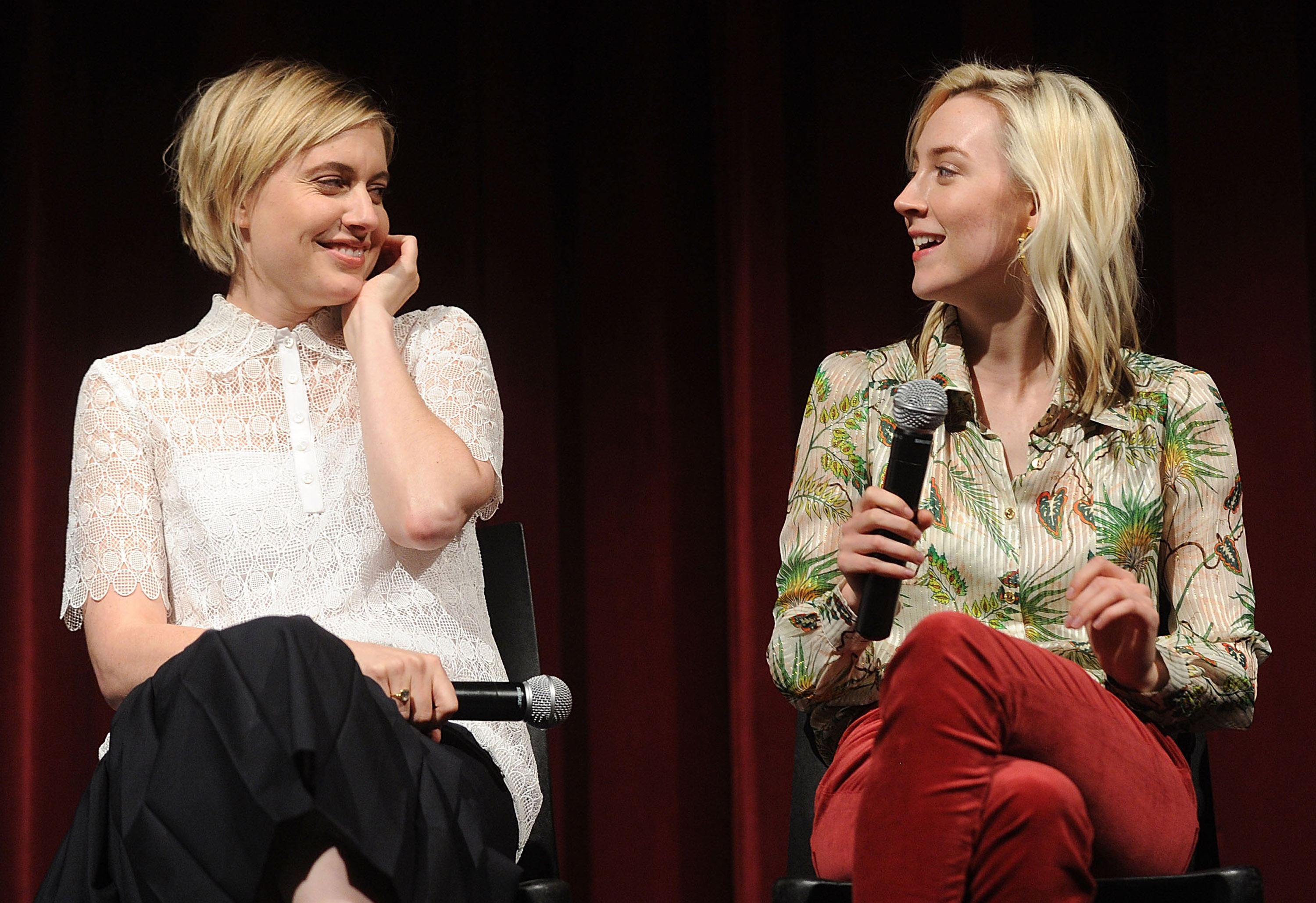 Director Greta Gerwig (L) and Saoirse Ronan attend The Academy of Motion Picture Arts and Sciences Host an Official Academy Screening of  Lady Bird  on Nov. 7, 2017 in New York City.