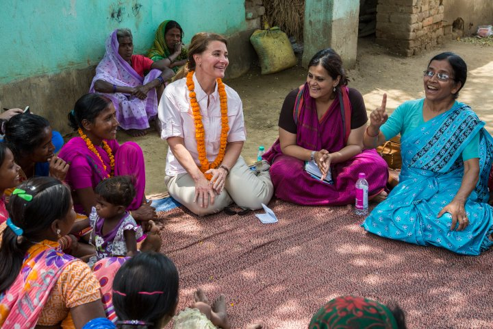 Melinda Gates during her interaction with women in Kothwa village in Danapur, Bihar, India, on April 18, 2015.She was accompanied by Sudha Varghese (light blue sari). Seated on Melinda Gates' right was Rita Devi (dark pink sari) and on her left was Yamini Atmavilas of the Gates Foundation.Sudha Varghese's Nari Gunjan works with women and girls of Dalit communities in this village.