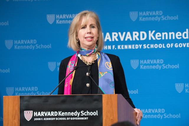 Nancy Gibbs speaks at the Harvard Kennedy School's Shorenstein Center on Nov. 15, 2017.