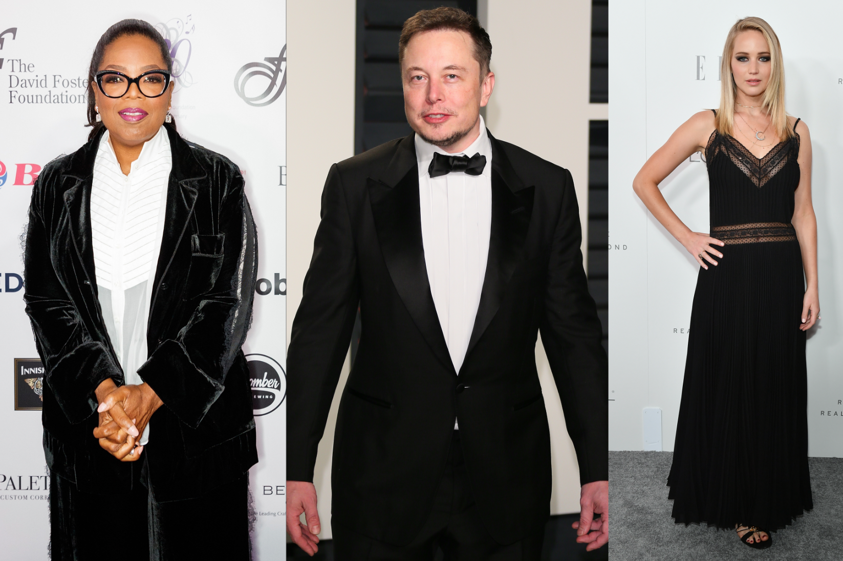 Oprah Winfrey, Elon Musk, and Jennifer Lawrence