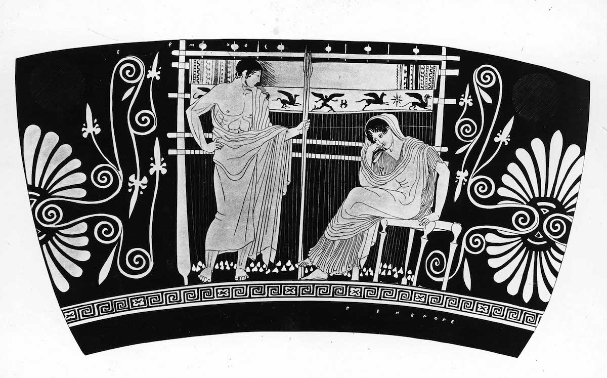 Fragment of intricate design depicting Telemachus and Penelope, based on 5th century portrayal.
