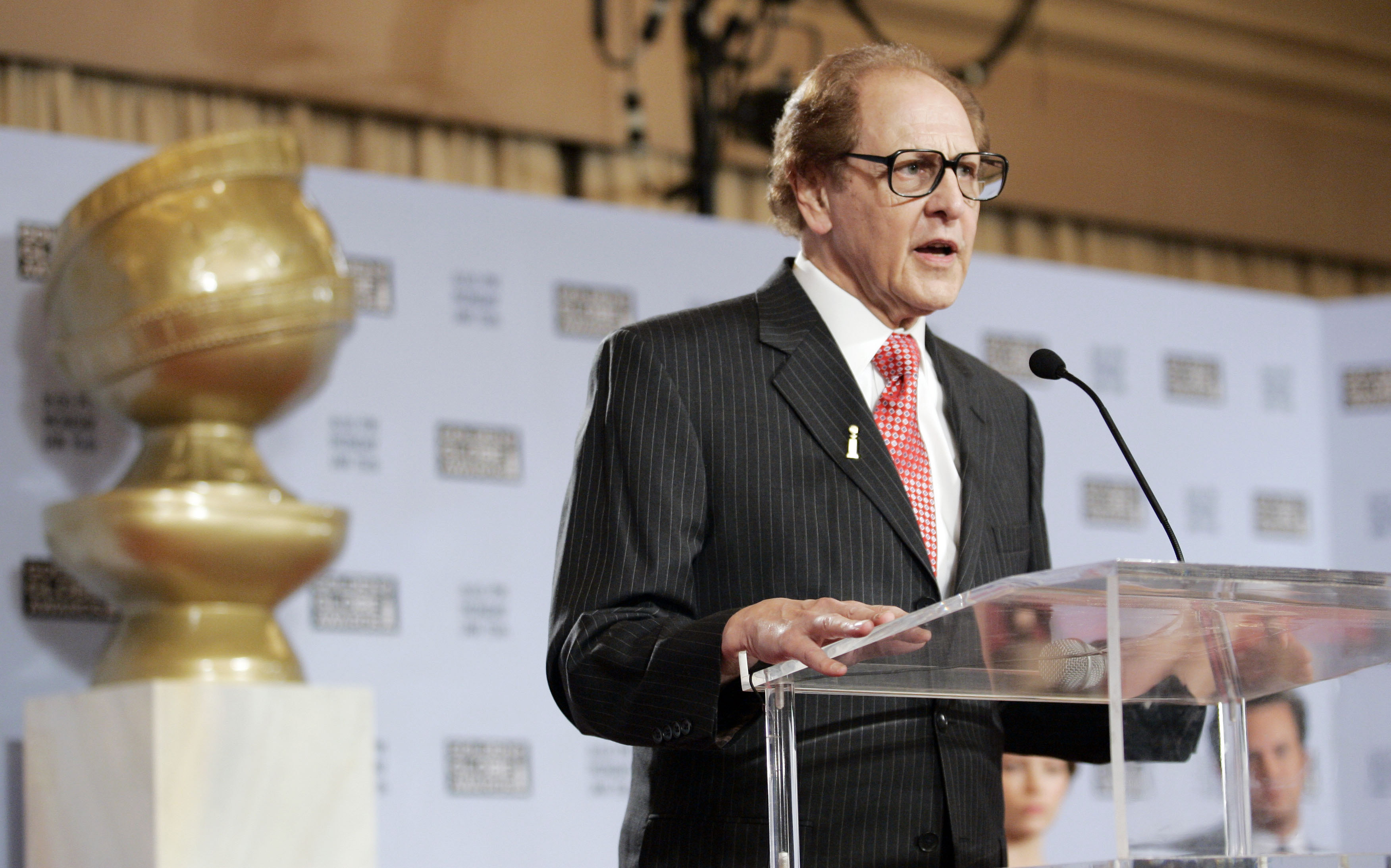 Philip Berk, president of the Hollywood Foreign Press Association, speaks before the nominees for the Golden Globe Awards are announced at the Beverly Hilton in Beverly Hills, California, December 14, 2006.