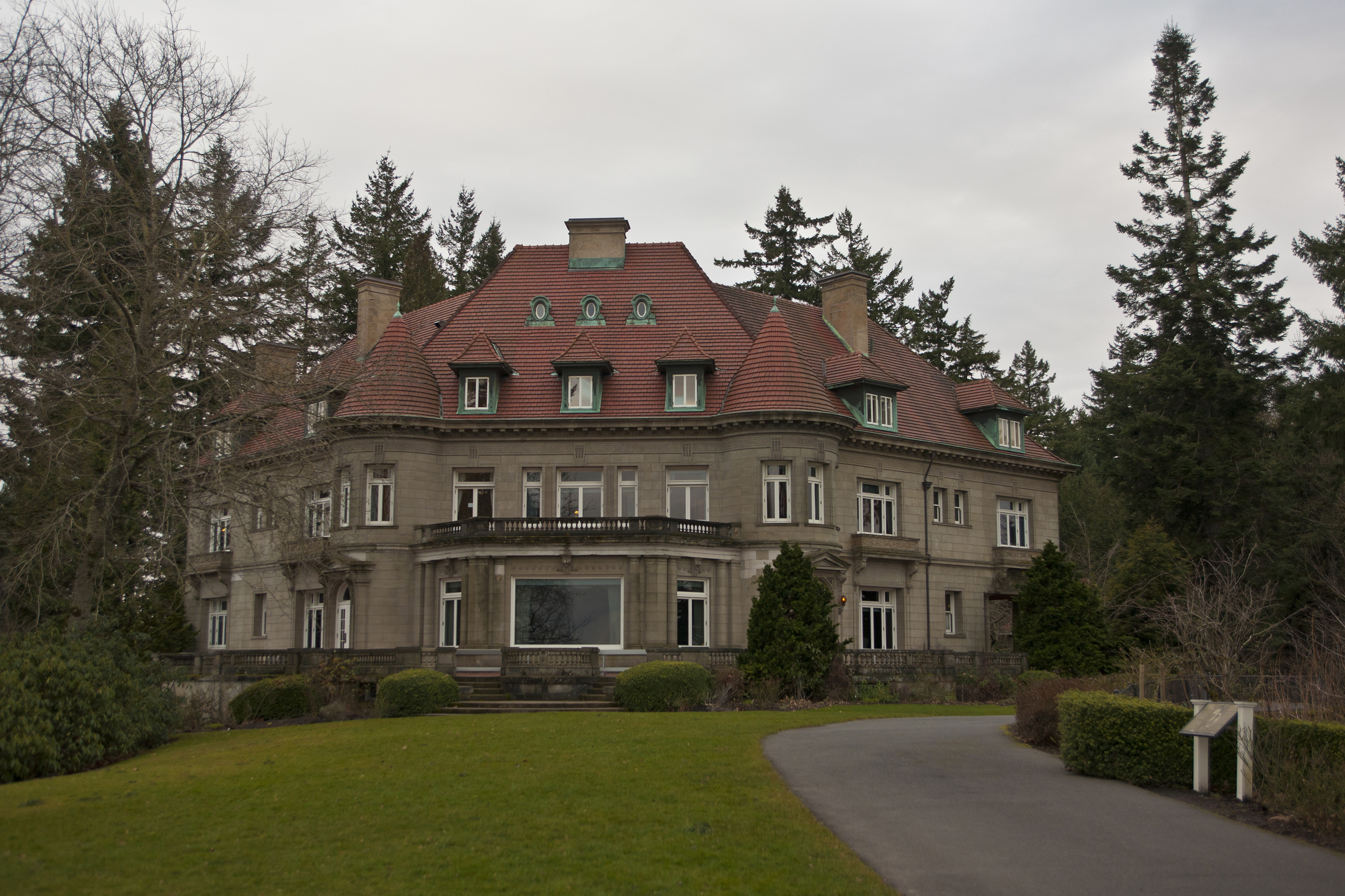 PORTLAND, OR - FEBRUARY 11:  The historic Pittock Mansion is viewed on February 11, 2012 in Portland, Oregon.  Portland has embraced its national reputation as a city inhabited with weird, independent people, as underscored by the dark comedy of the IFC TV show  Portlandia.   (Photo by George Rose/Getty Images)