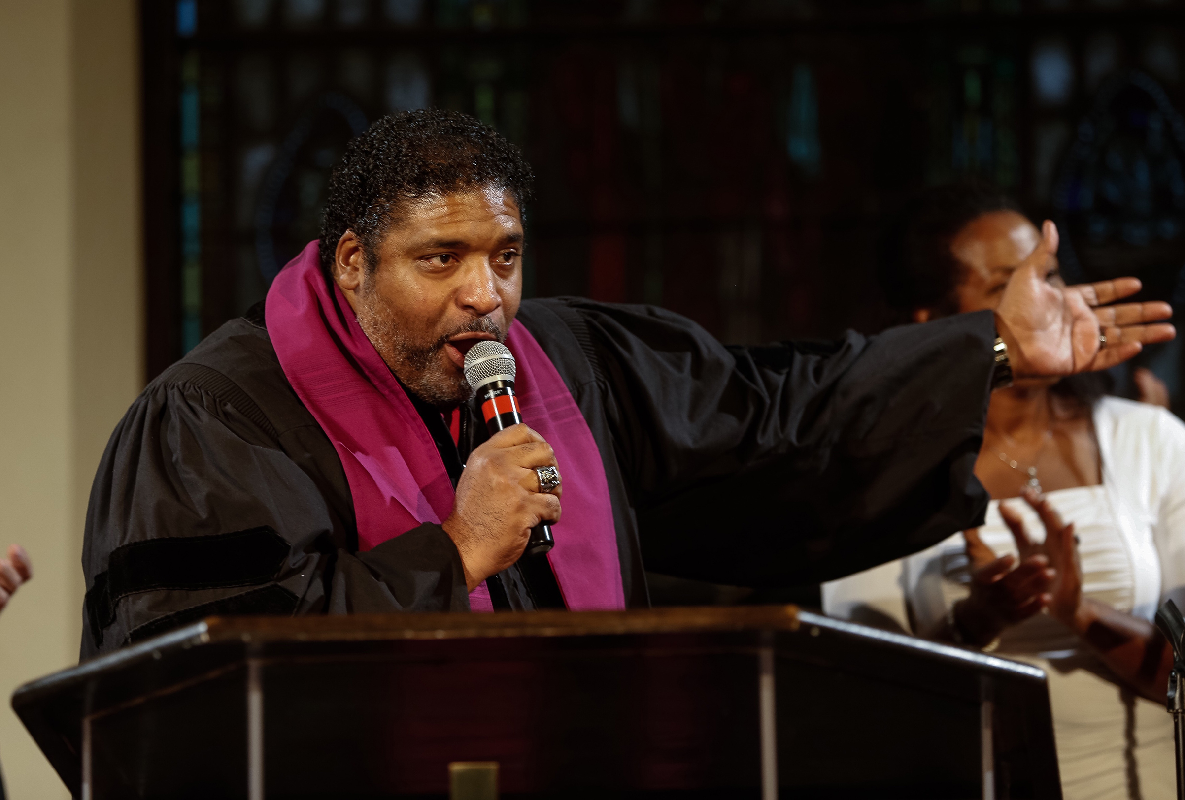 Reverend Dr. William J. Barber II speaks during a revival service to address moral public policies at Bethel AME Church in Boston on Aug. 1, 2016.