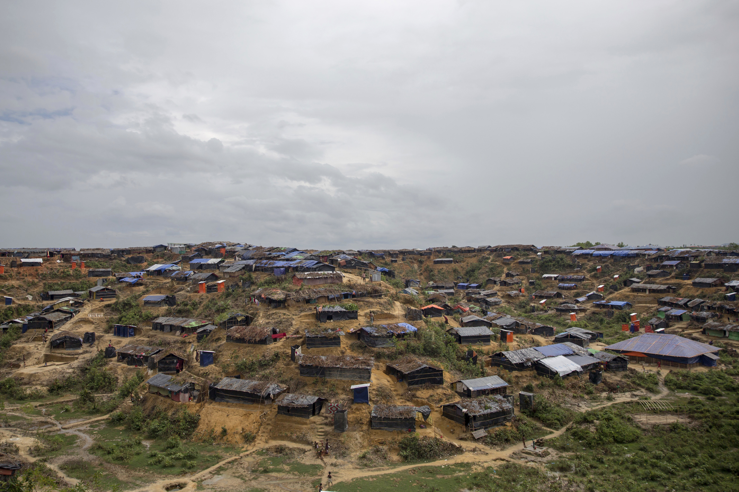 A newly established refugee camp for Rohingya Muslims in Thaingkhali, Bangladesh, on Oct. 19, 2017.