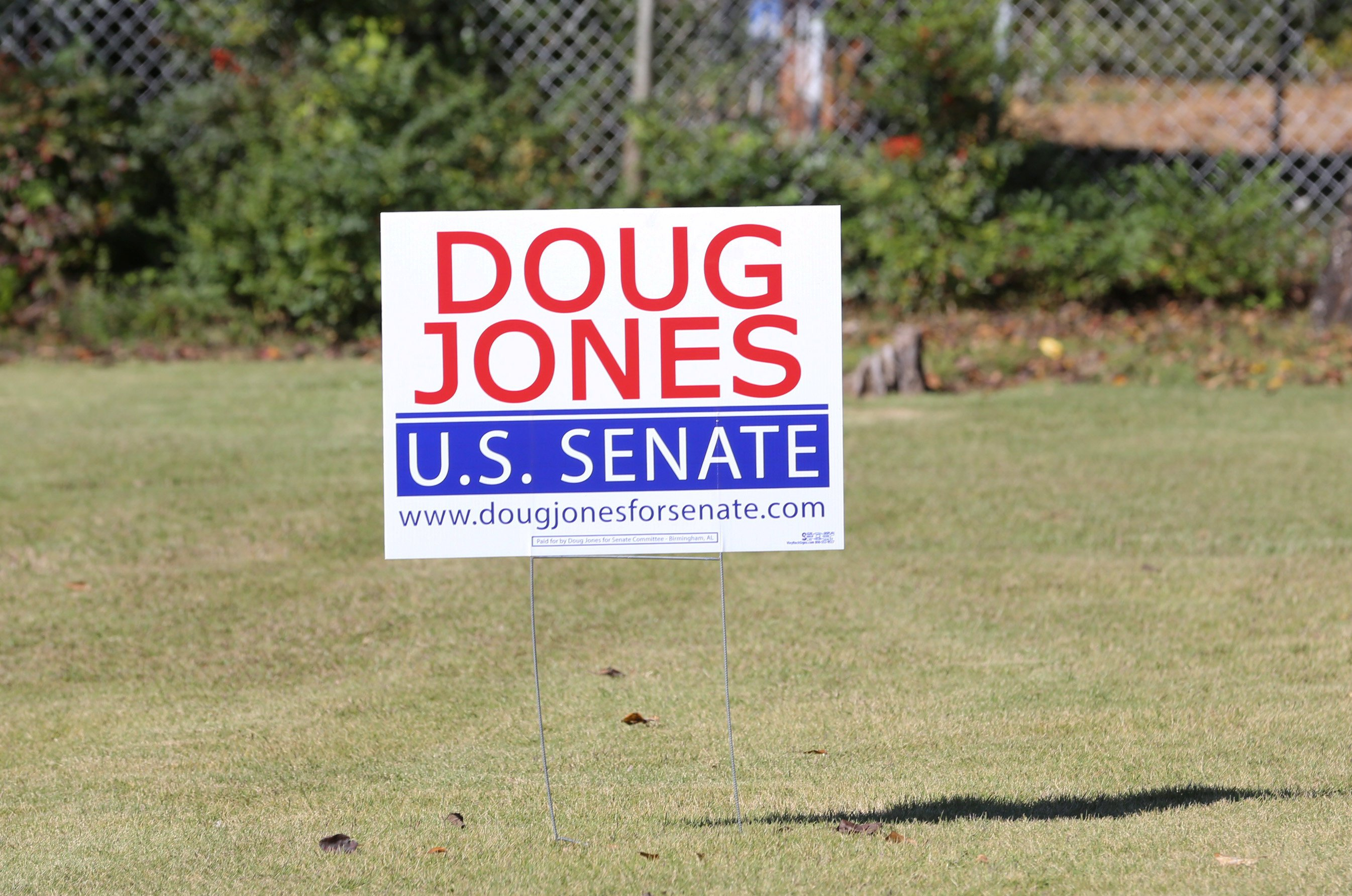 Senate Democratic candidate Doug Jones' election sign is posted around the Jefferson County, Alabama area prior to the upcoming special election against Republican candidate Judge Roy Moore in Hoover, Alabama on November 10, 2017.