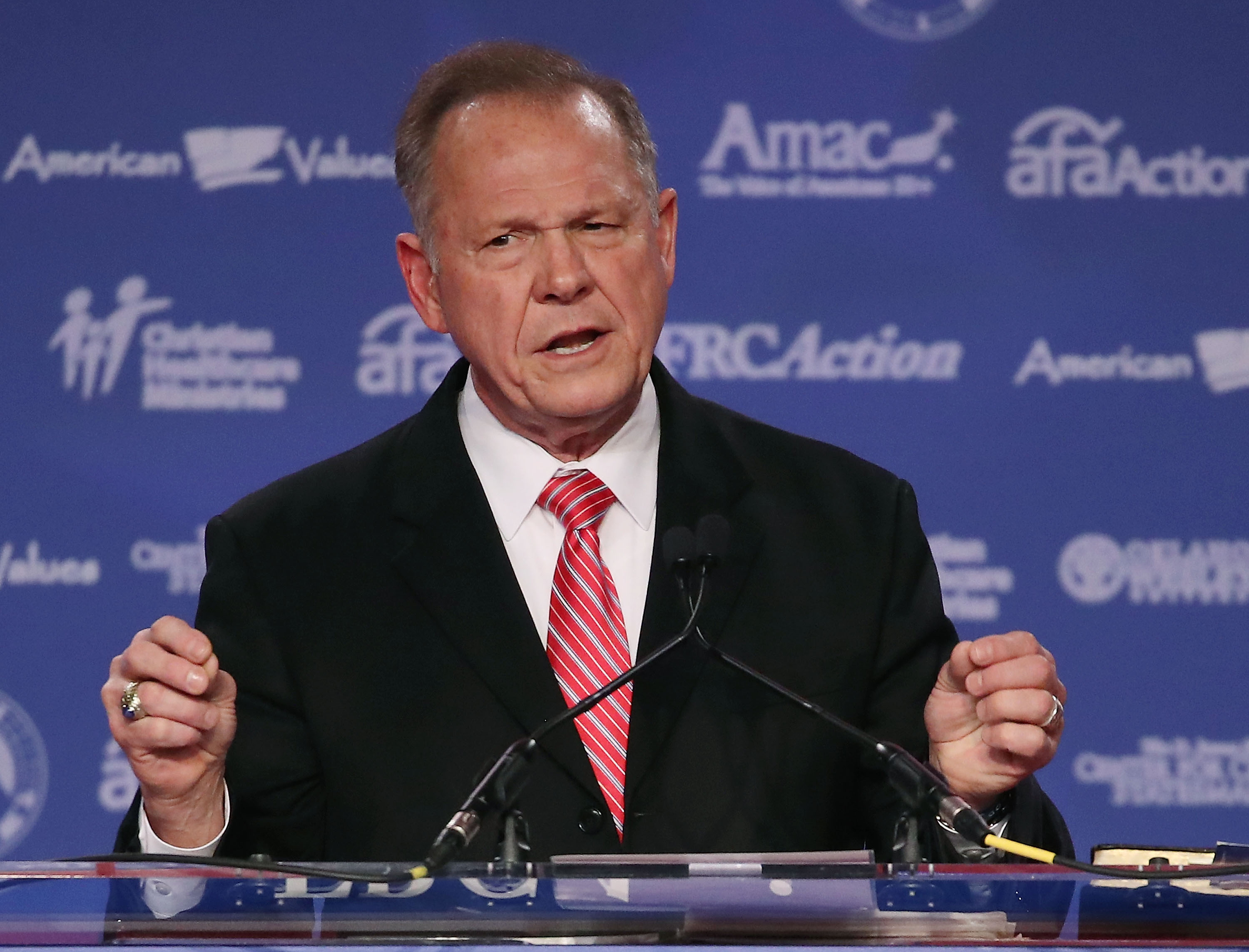 Roy Moore, GOP Senate candidate and former chief justice on the Alabama Supreme Court speaks during the annual Family Research Council's Values Voter Summit at the Omni Shorham Hotel on Oct. 13, 2017 in Washington, D.C.