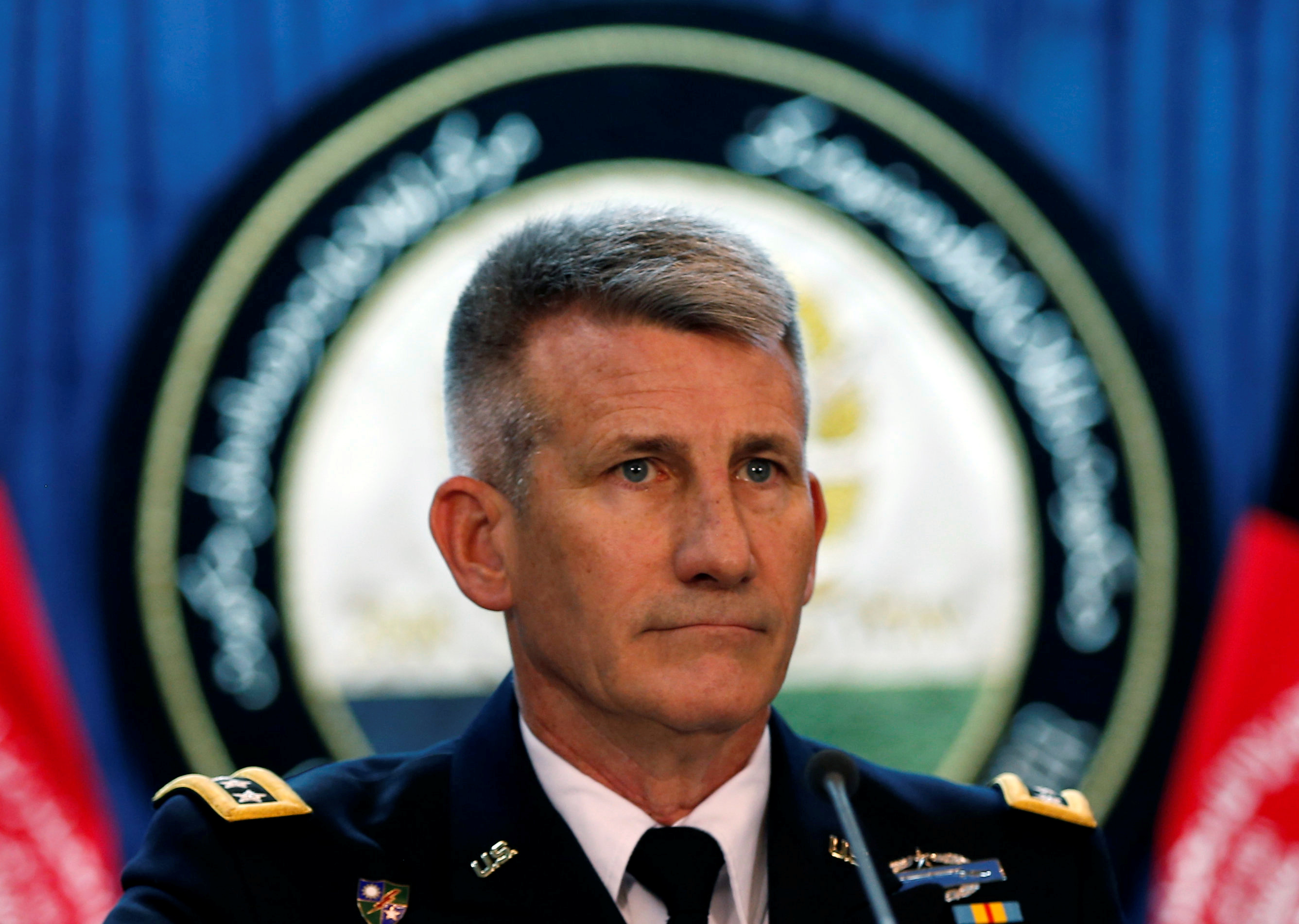 U.S. Army General John Nicholson, Commander of Resolute Support forces and U.S. forces in Afghanistan, speaks about the U.S. new strategy for Afghanistan during a news conference in Kabul, Afghanistan August 24, 2017.