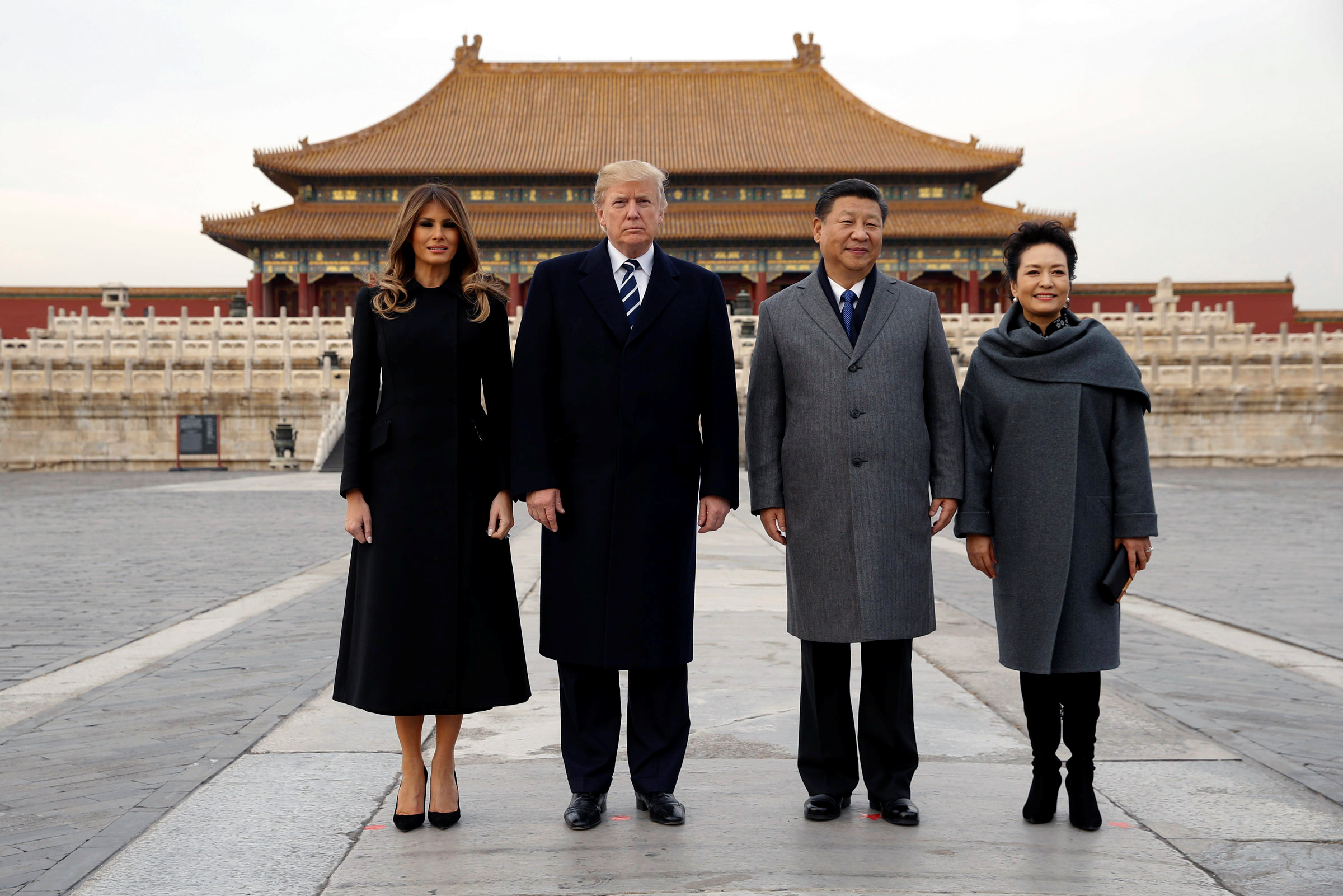 President Donald Trump and first lady Melania visit the Forbidden City with China's President Xi Jinping and China's First Lady Peng Liyuan on Nov. 8, 2017.