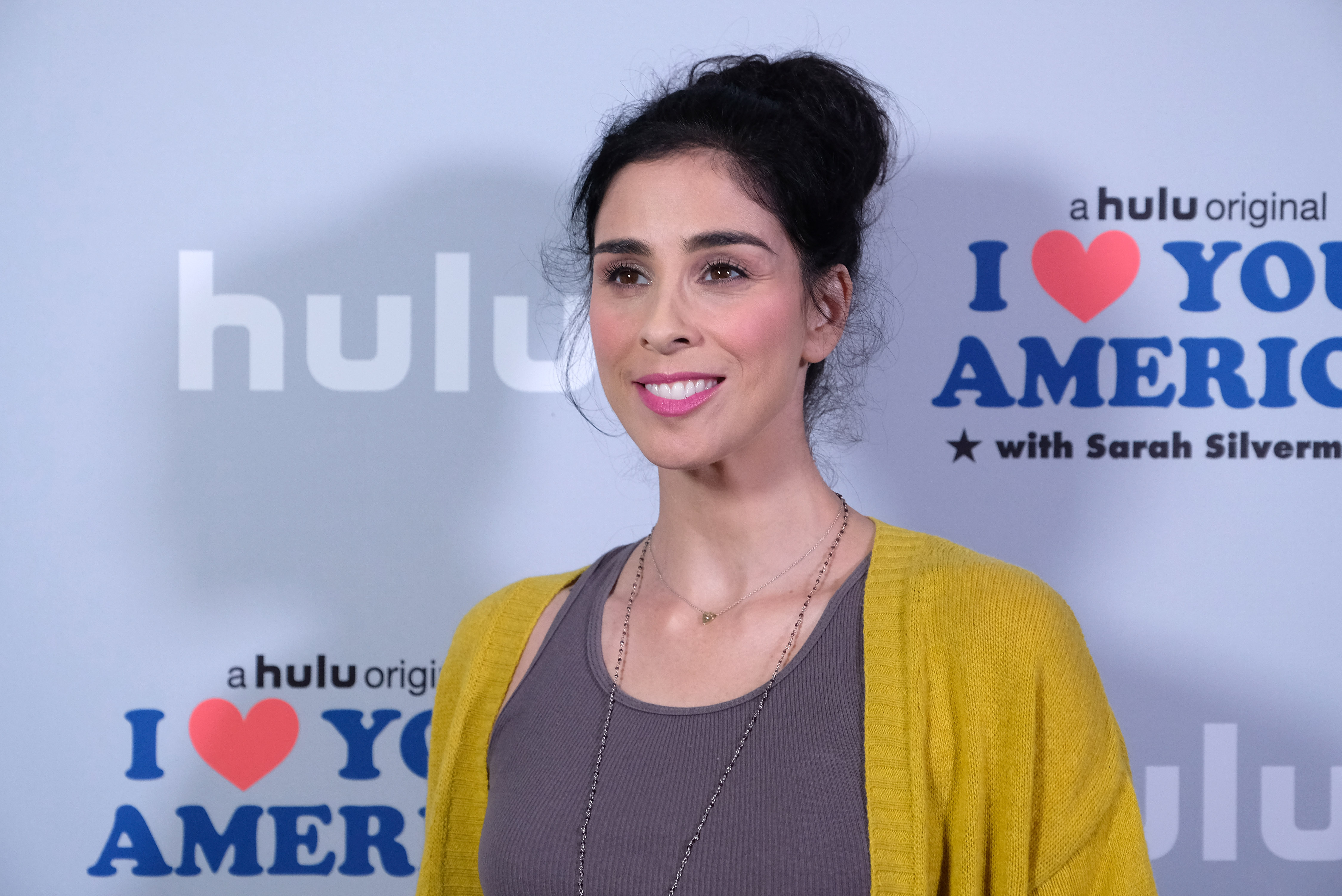 Actress/executive producer Sarah Silverman attends a photo op for Hulu's  I Love You America  with Sarah Silverman at Chateau Marmont on Oct. 11, 2017 in Los Angeles.