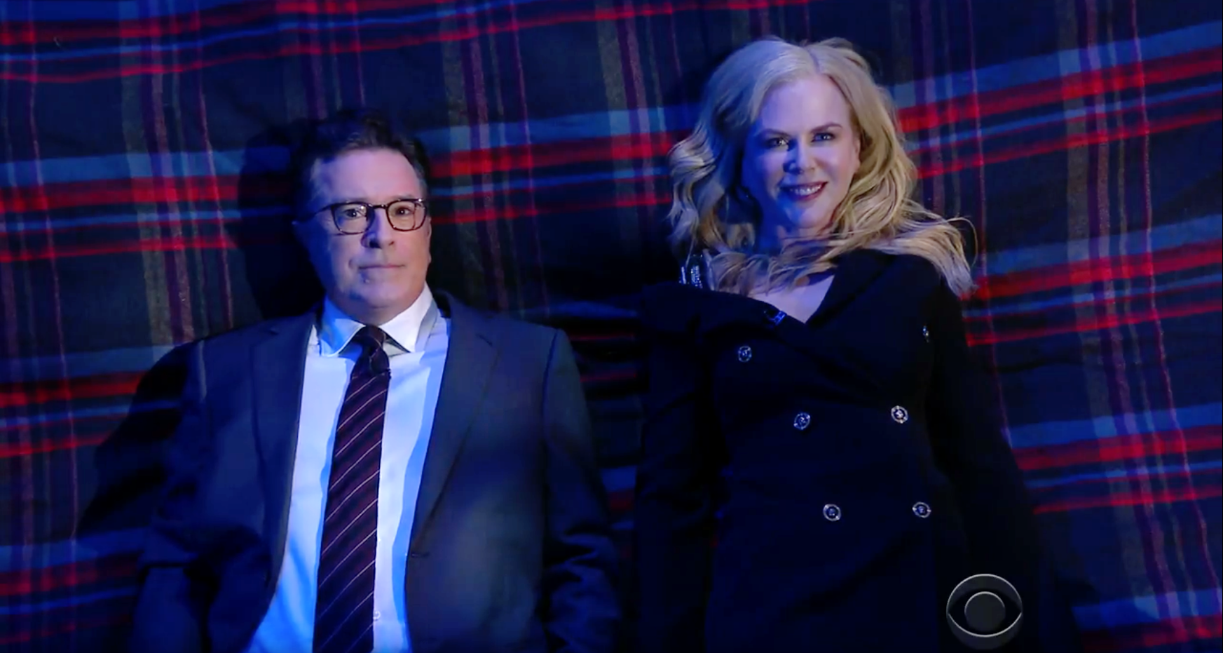 Stephen Colbert and Nicole Kidman in Big Questions With Even Bigger Stars.