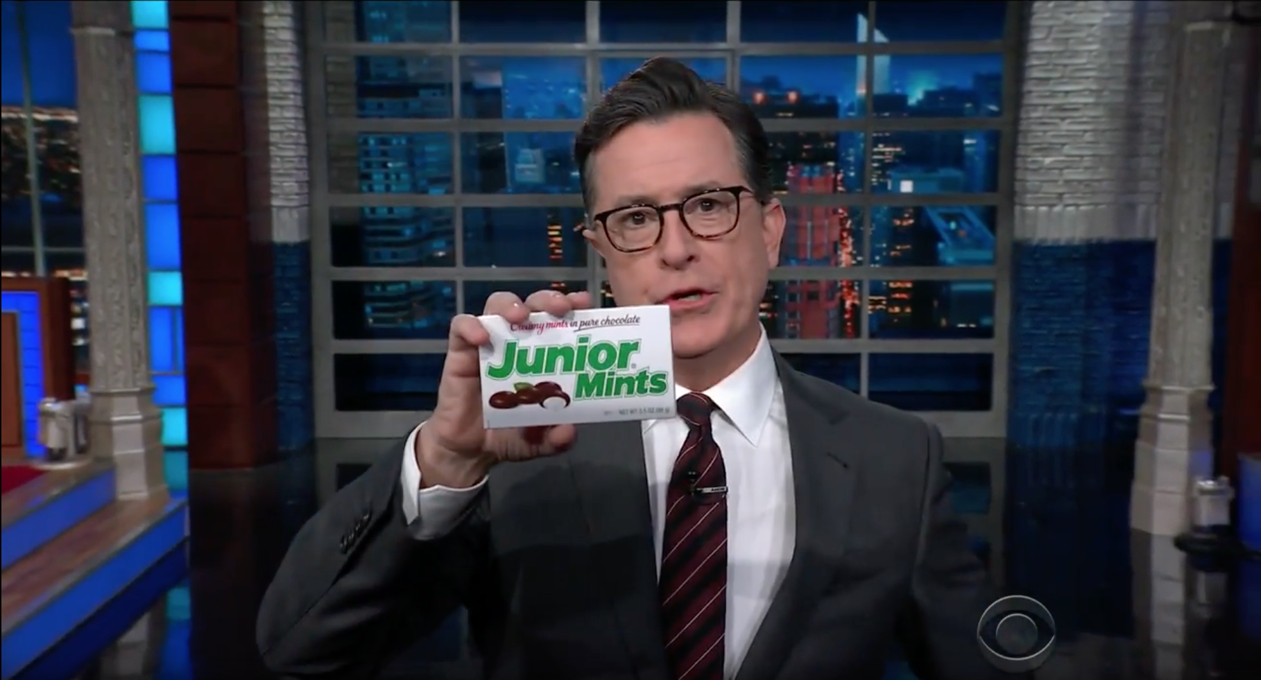 Stephen Colbert ends his pun-filled rant about Donald Trump Jr. with a fake  douche  chocolate bar on Nov. 1, 2017.