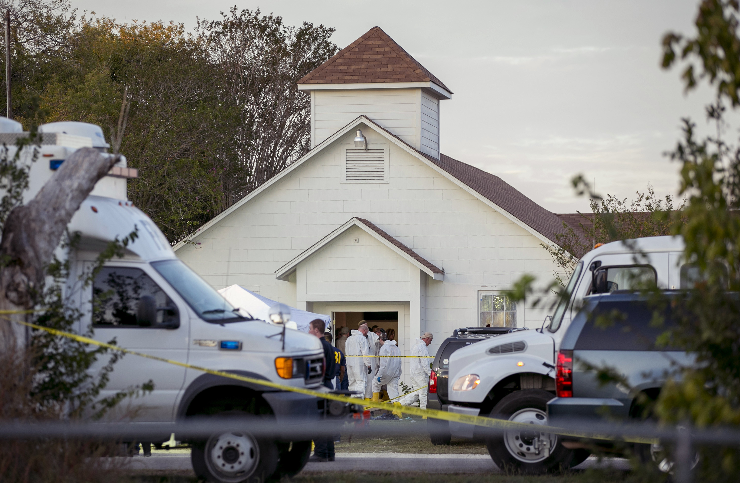Investigators work at the First Baptist Church in Sutherland Springs, Texas, on Nov. 5, 2017. A man opened fire inside the church, killing at least 26 people.