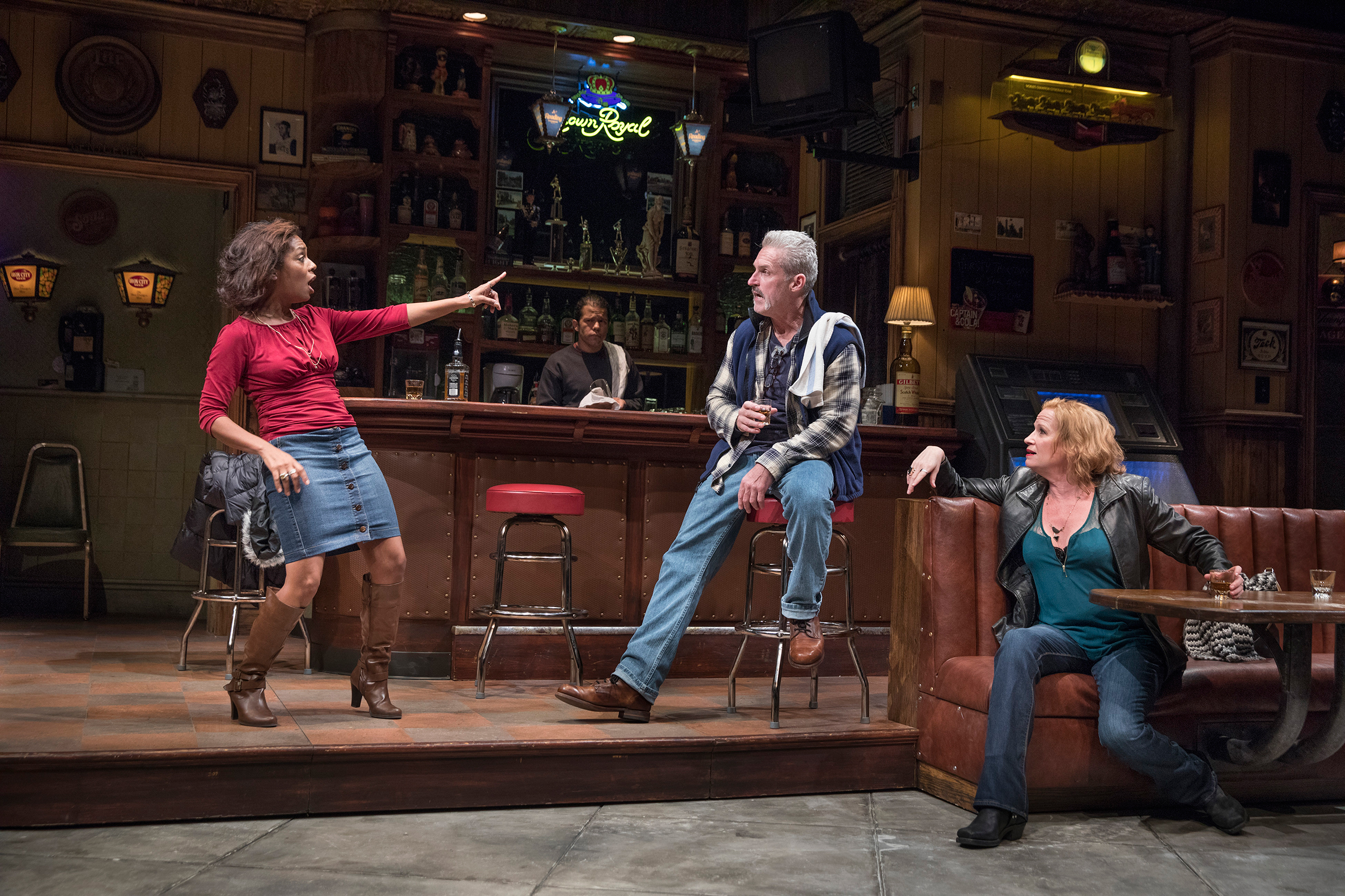 Michelle Wilson, James Colby and Johanna Day in  Sweat,  at the Public theater in New York, Oct. 16, 2016 .