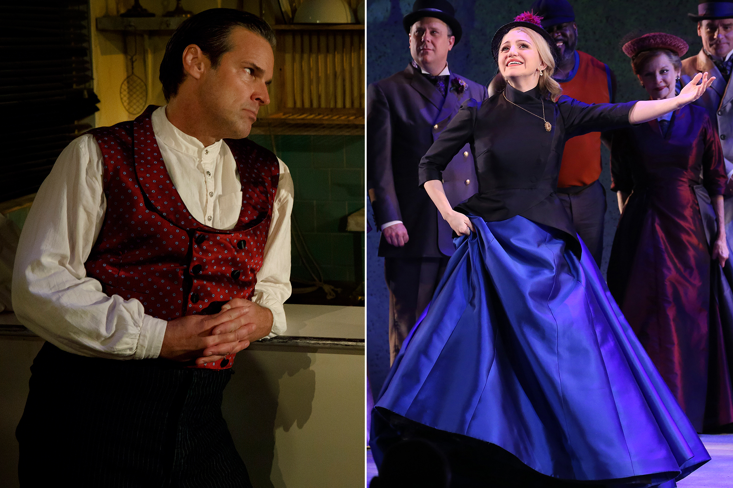 Left: Hugh Panaro as Sweeny Todd. Right: Annaleigh Ashford during the opening night performance curtain call bows for 'Sunday in the Park with George'