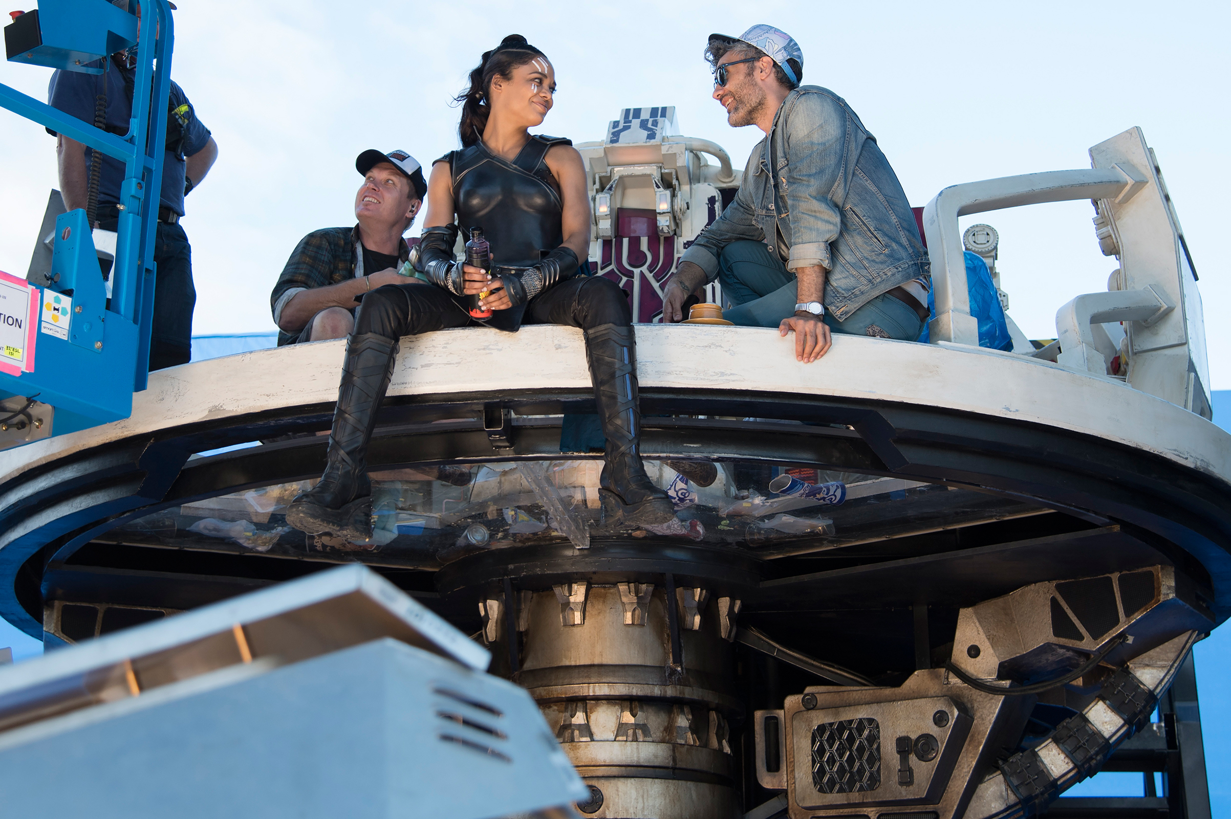 Waititi coaxed stars like Cate Blanchett, Jeff Goldblum and Tessa Thompson (above) to flex their comedic muscles on the set of Thor in Australia.