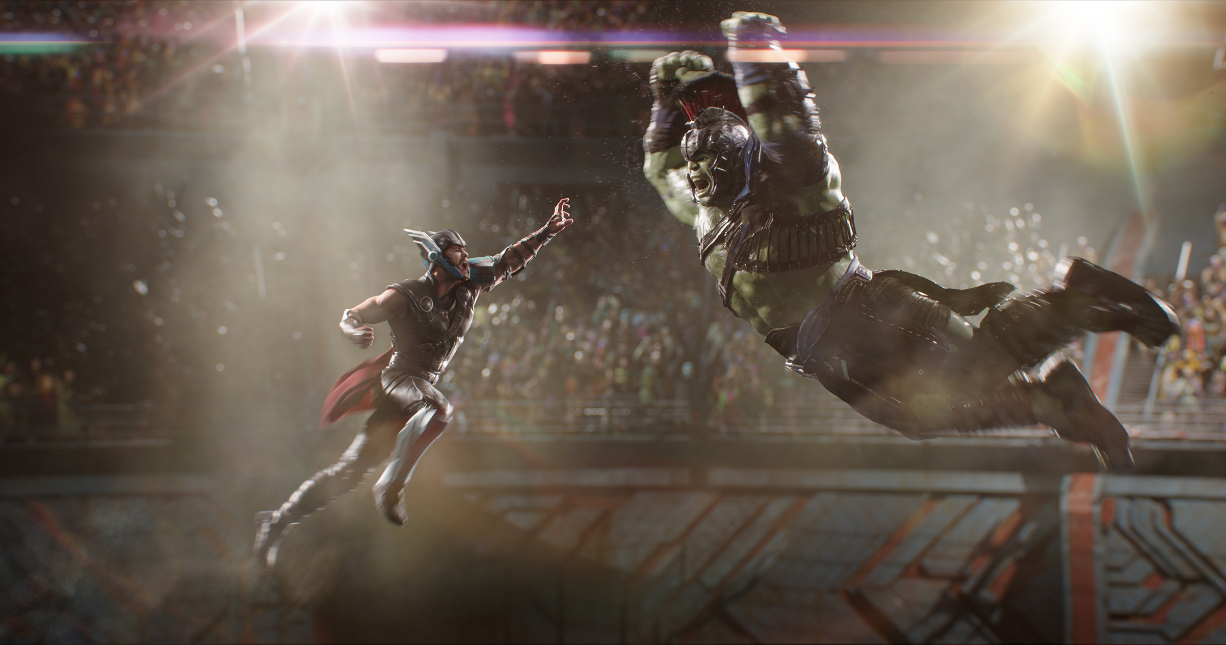 Thor (Hemsworth)and the Hulk (Ruffalo)finally answer the question