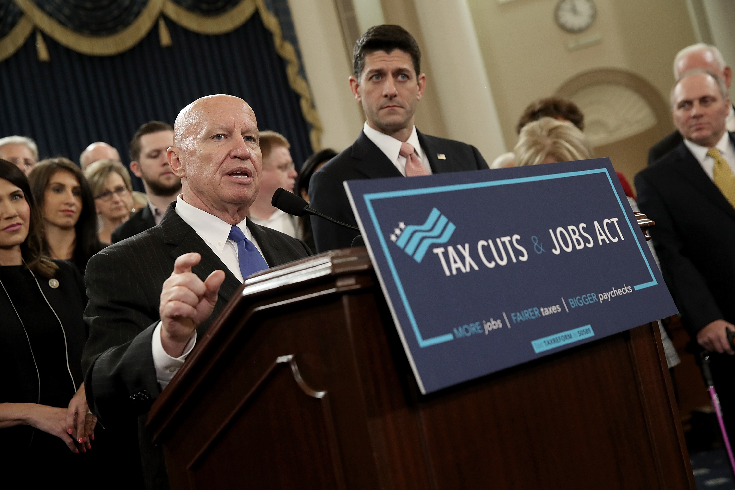 House Way and Means Chairman Kevin Brady and Republican House Speaker Paul Ryan introduce tax reform legislation on Nov. 2, 2017 in Washington, D.C.