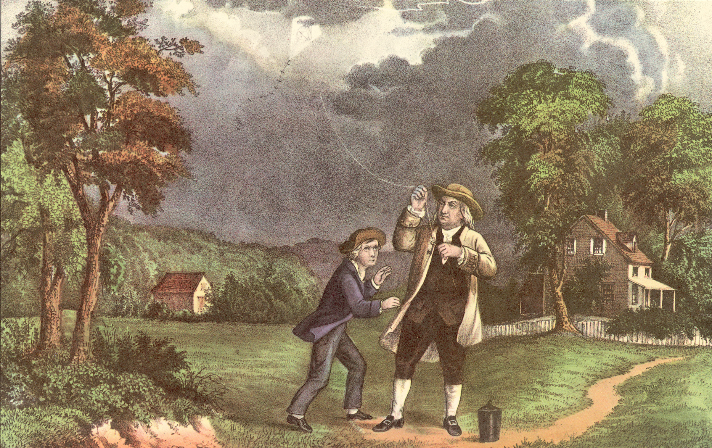 Benjamin Franklin and his son William used a key and a kite to prove that lightning was electricity