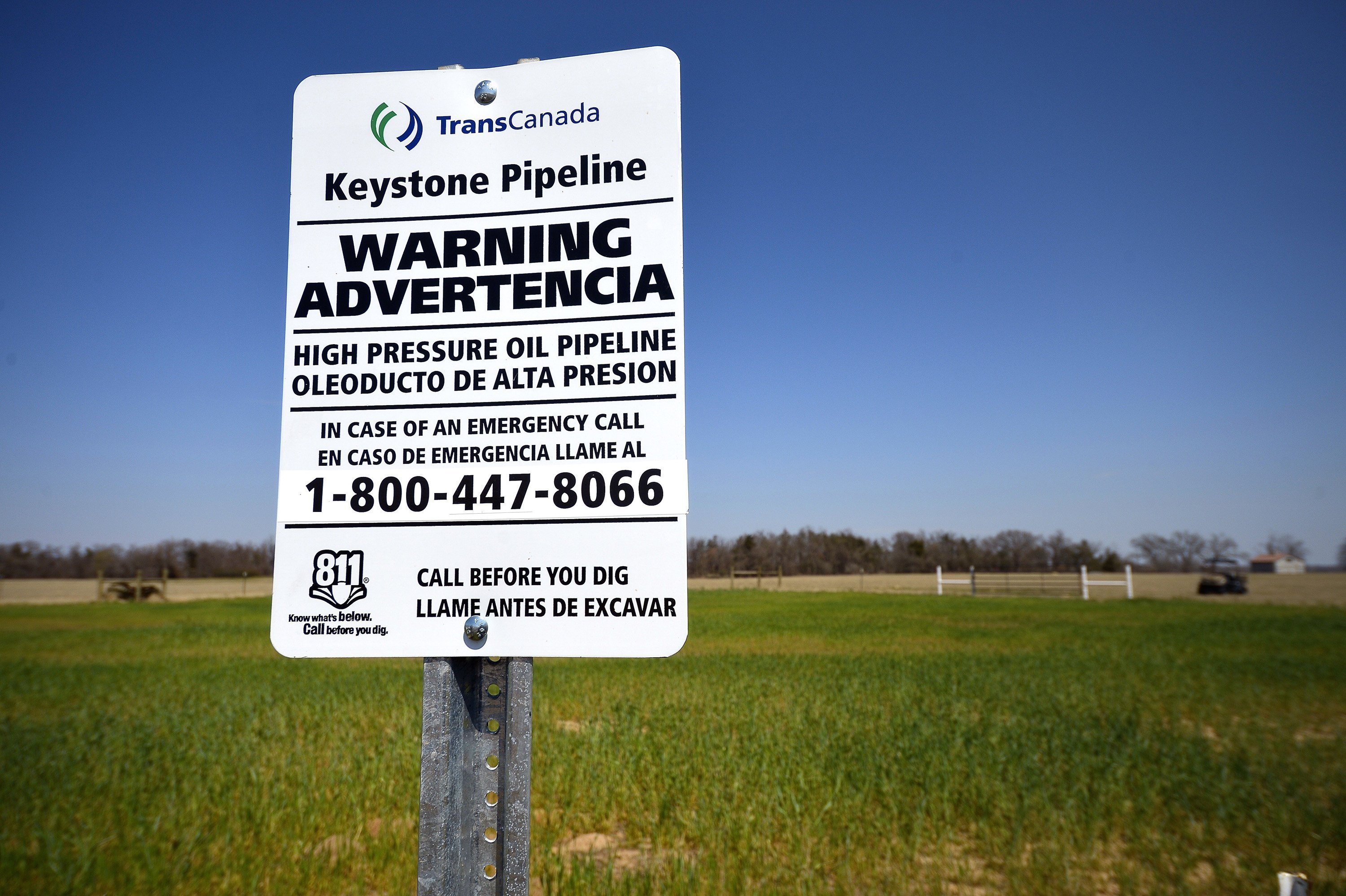 A warning sign at a TransCanada Keystone XL pipeline valve station just south of Julia Trigg Crawford's land in Direct, Texas.