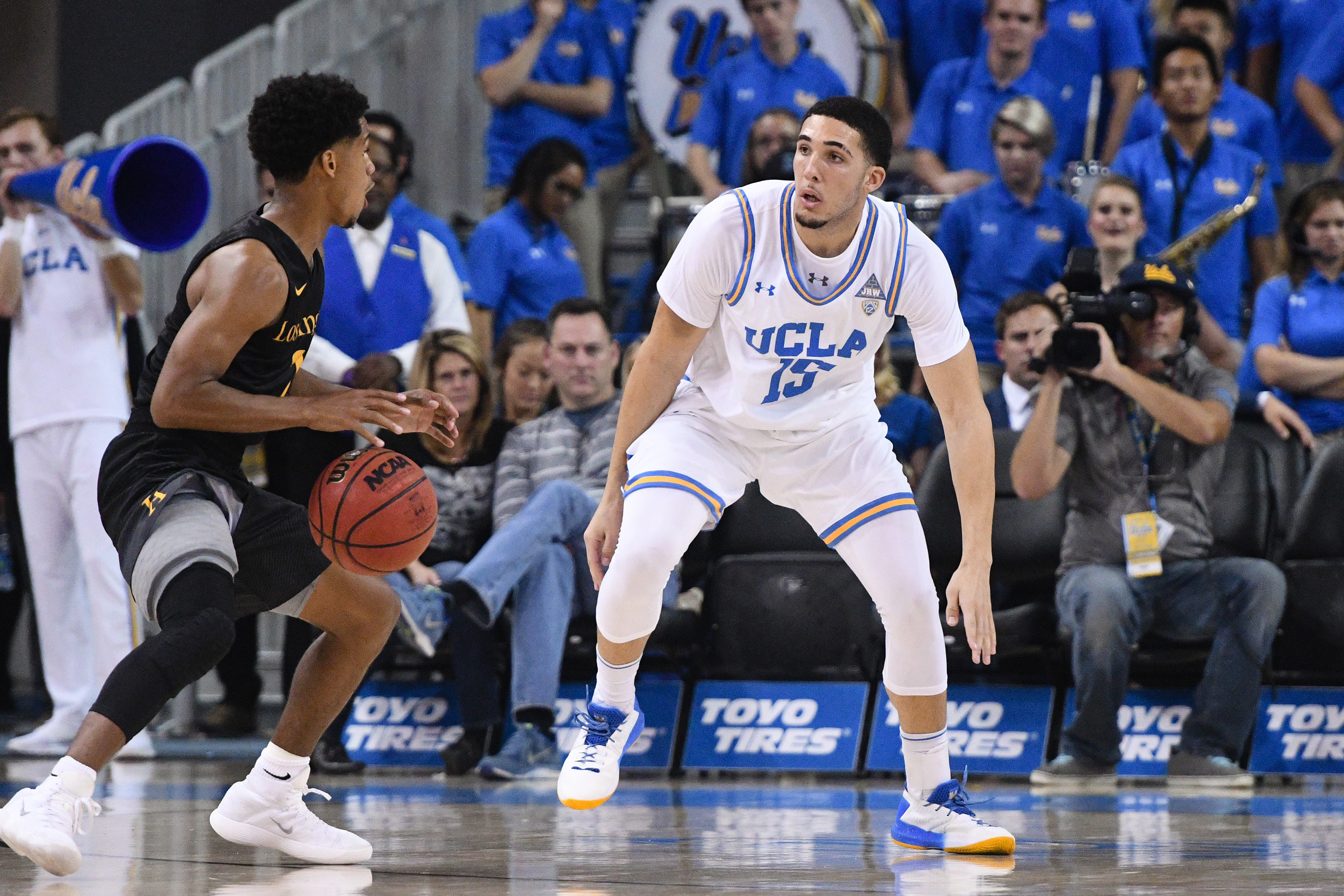 UCLA guard LiAngelo Ball (15) on defense during an college exhibition basketball game between the Cal State Los Angeles and the UCLA Bruins on November 1, 2017, at Pauley Pavilion in Los Angeles, CA.