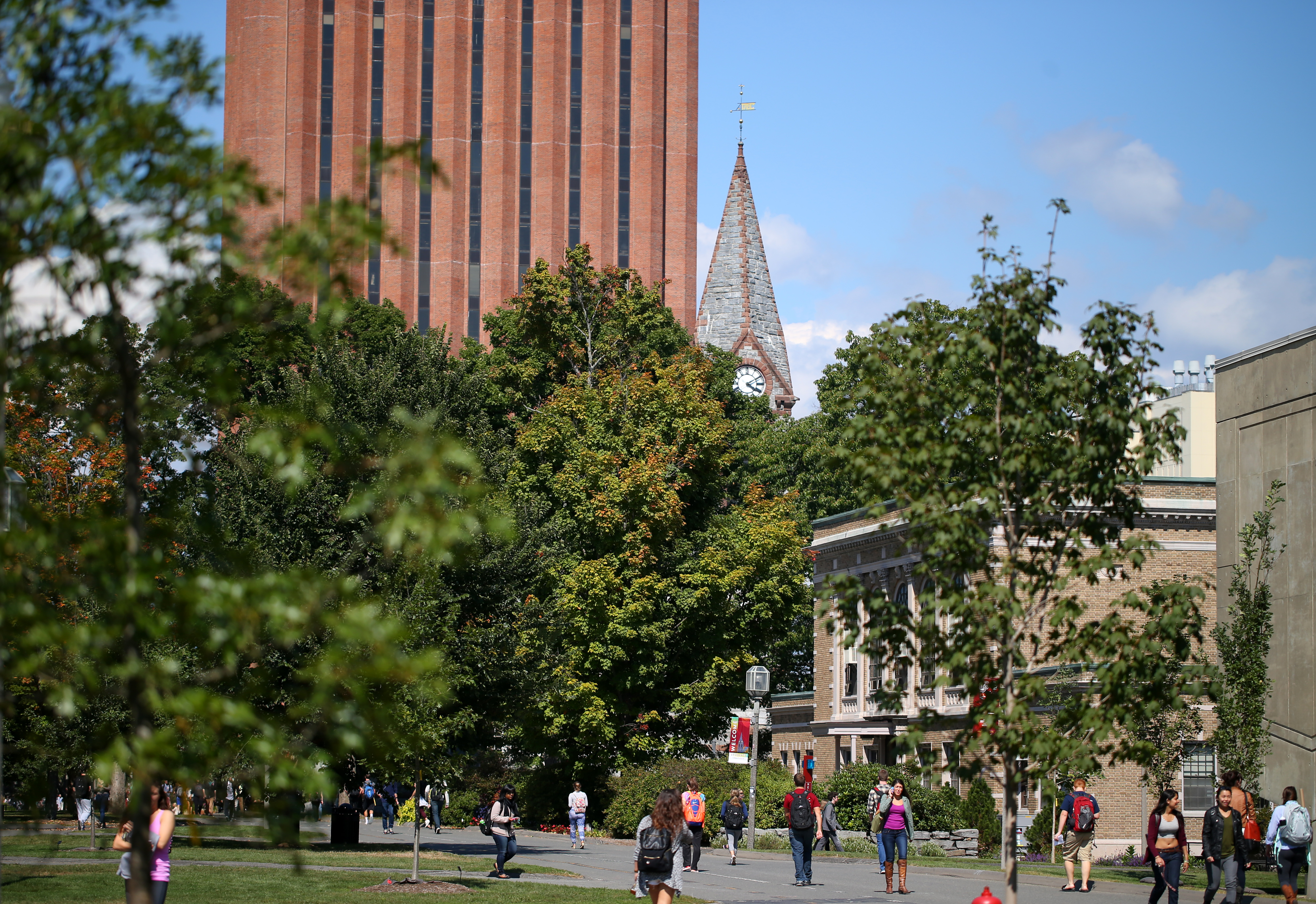 UMass Amherst students head across campus.