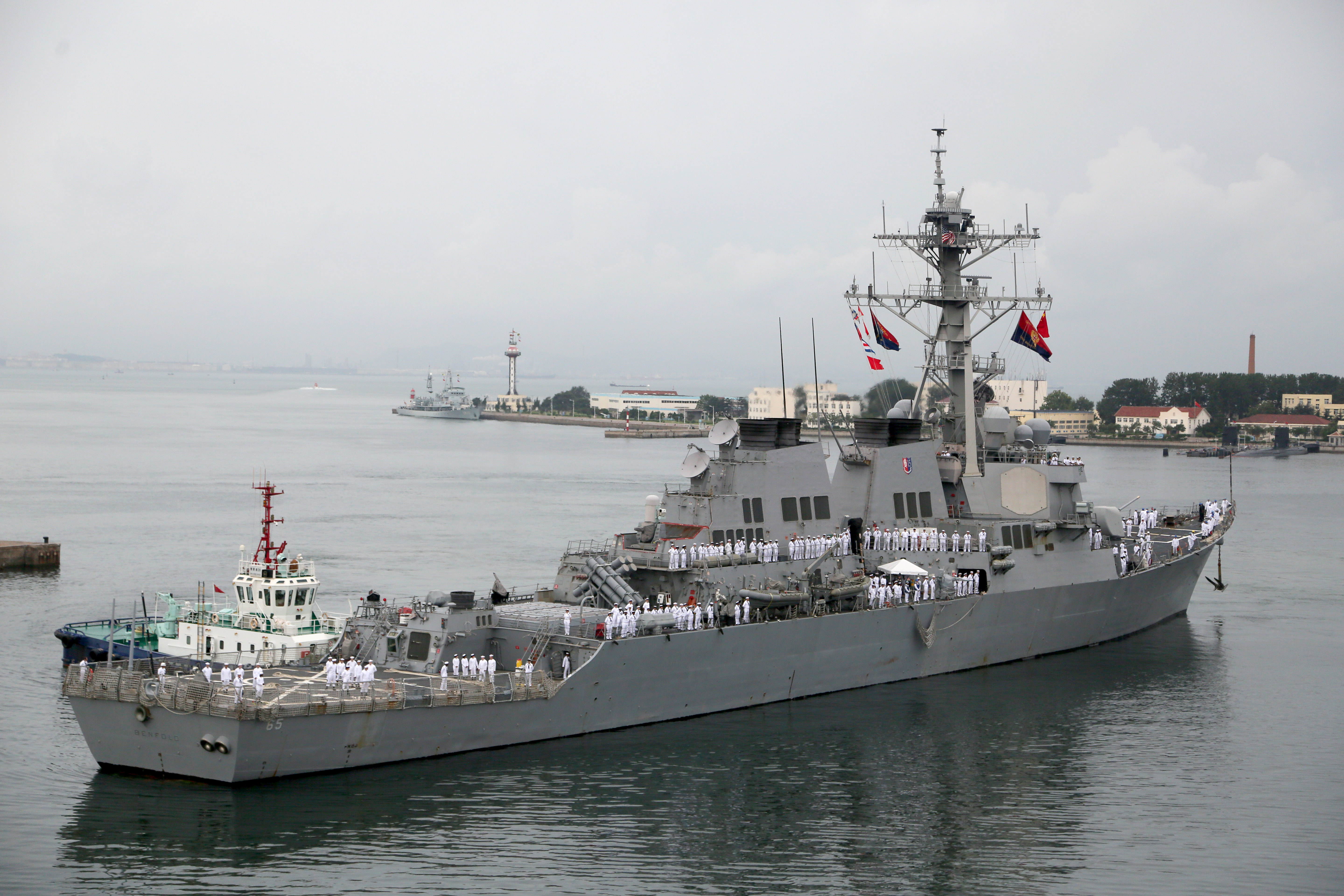 U.S. Navy guided missile destroyer USS Benfold in Qingdao, China in 2016.