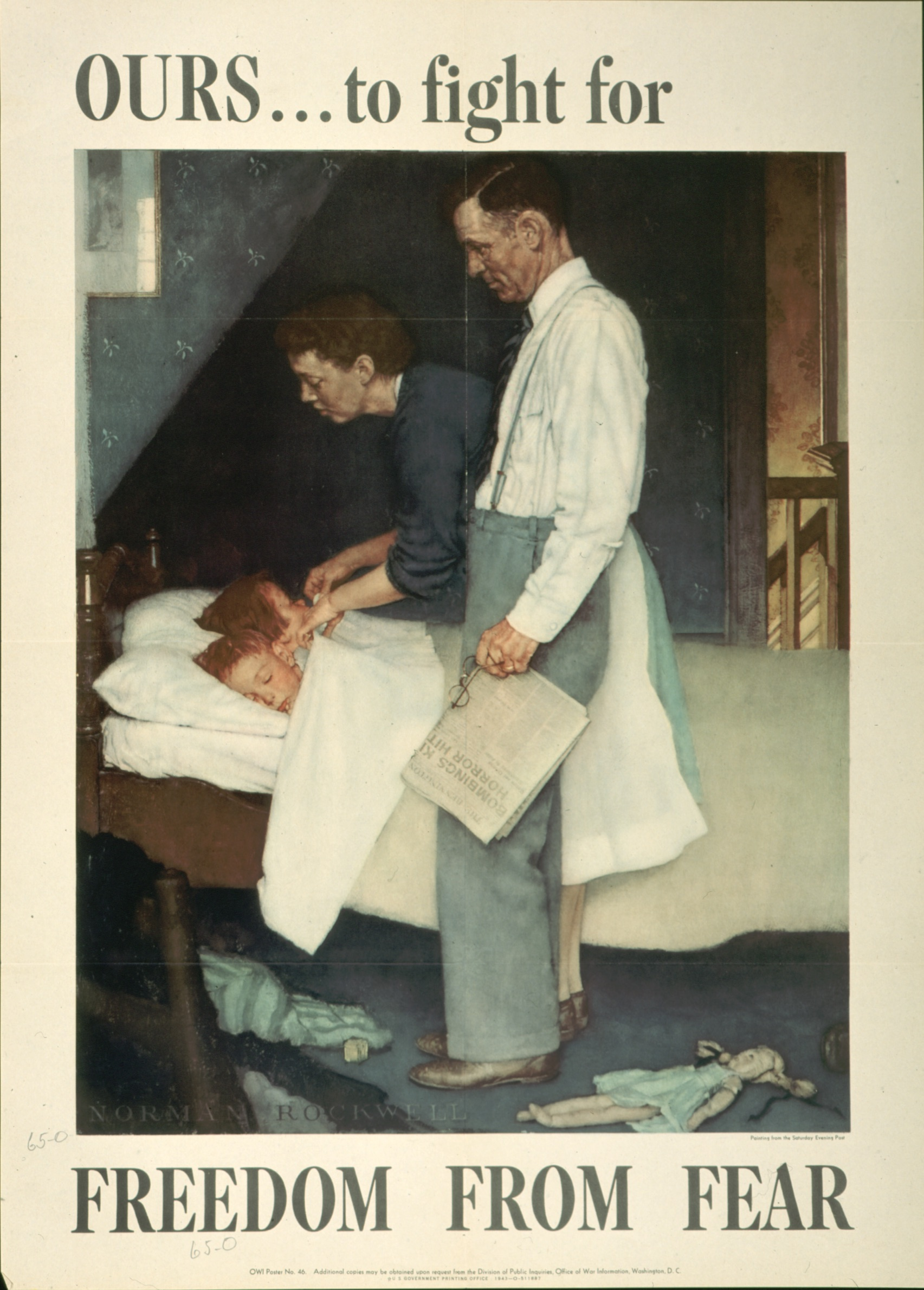 Norman Rockwell, Freedom from Fear, 1943, offset color lithograph on paper, Texas War Records Collection, 85.170.159
